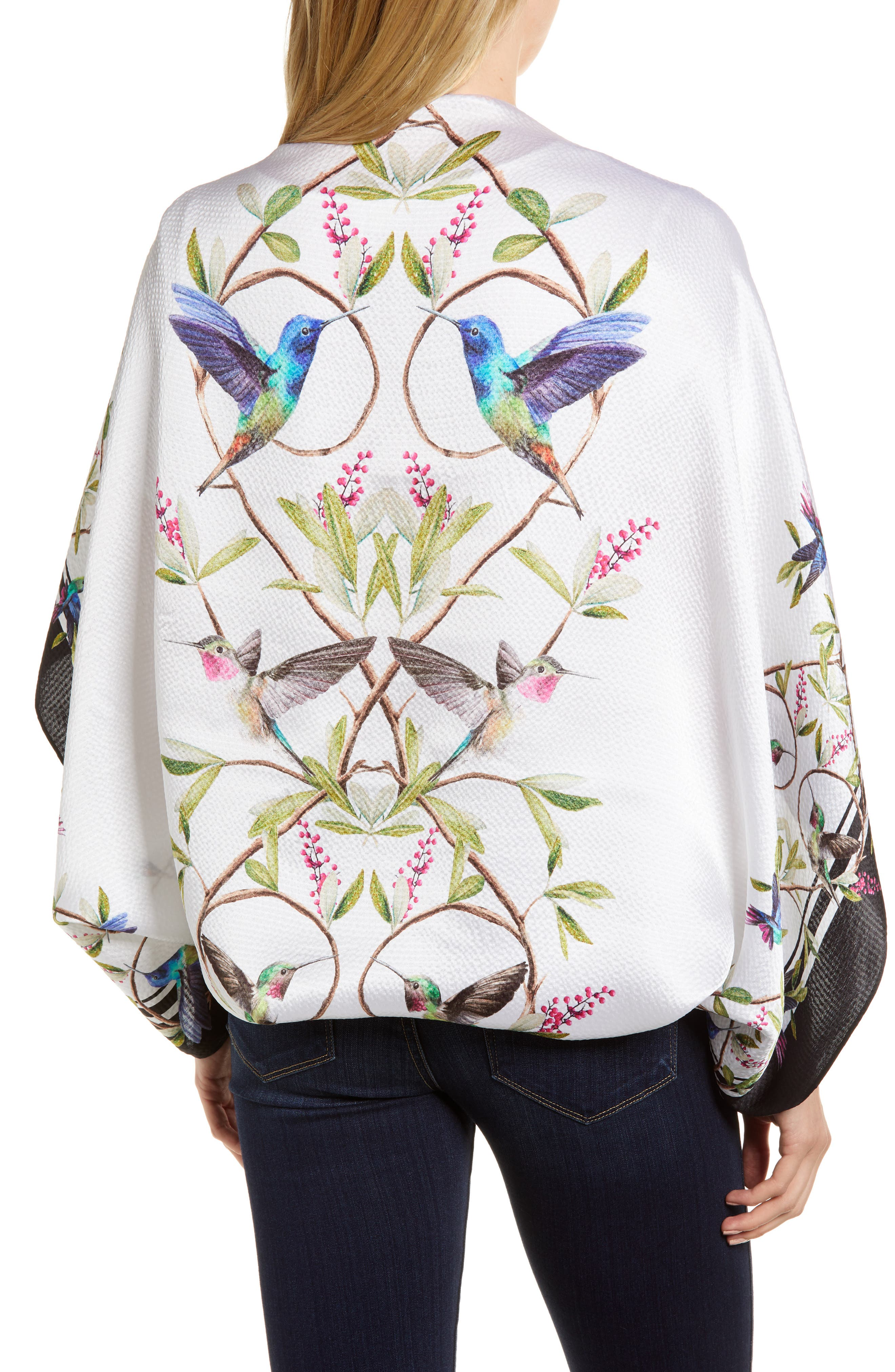 Chatsworth Bloom Silk Cape Scarf,                             Alternate thumbnail 2, color,                             White