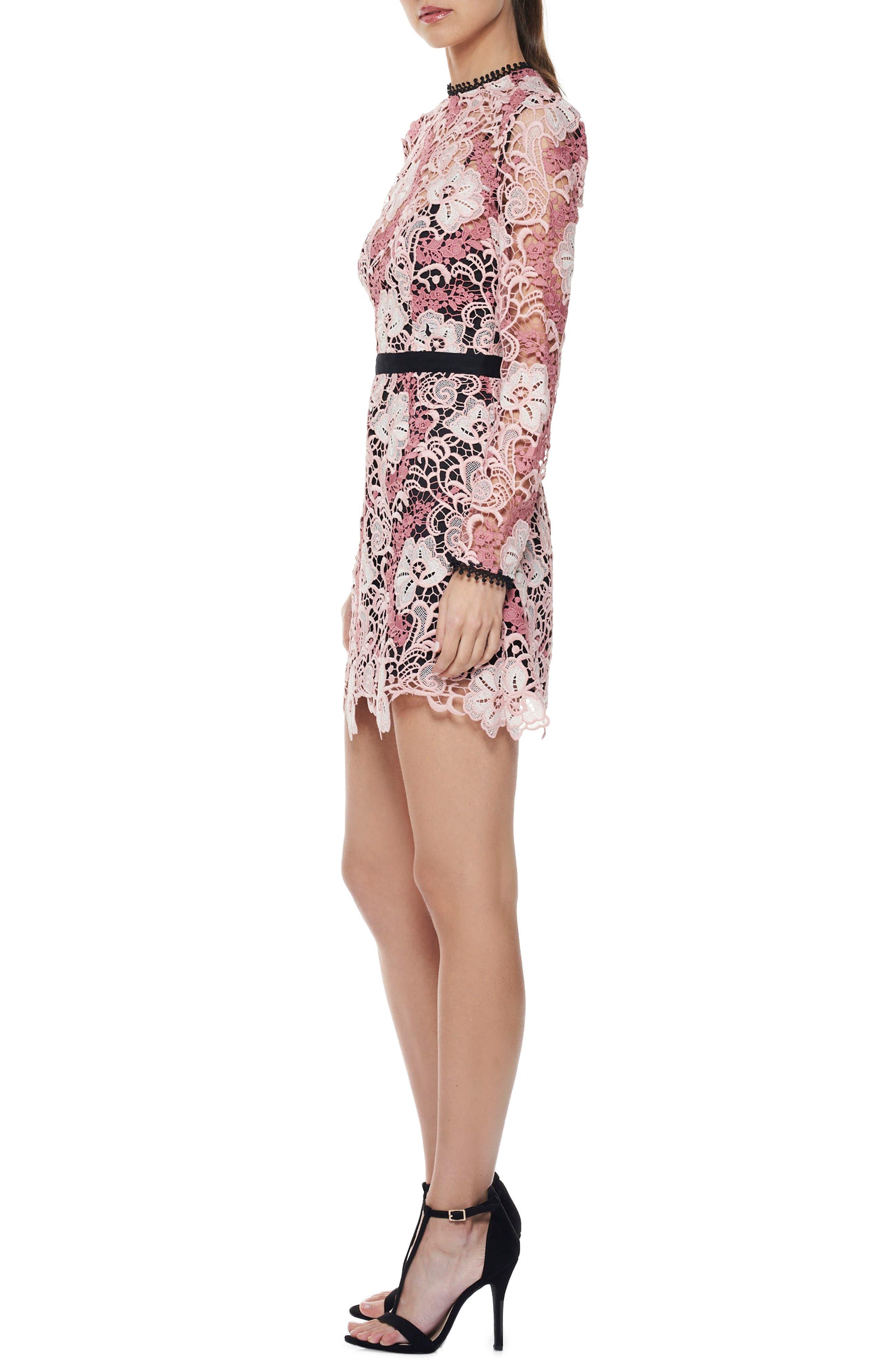 The Passion Lace Minidress,                             Alternate thumbnail 3, color,                             Multi-Pink