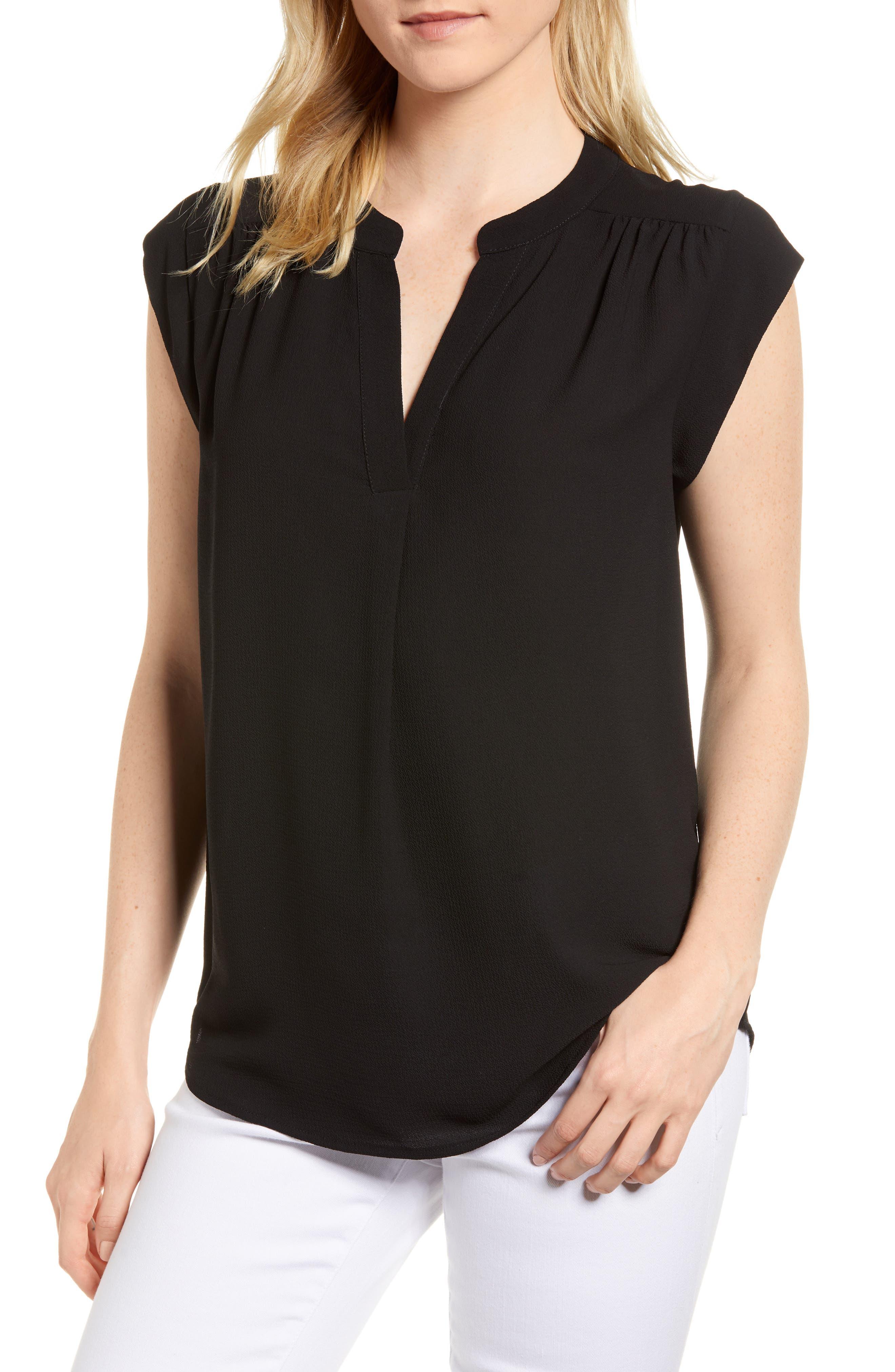Split Neck Top,                         Main,                         color, Black