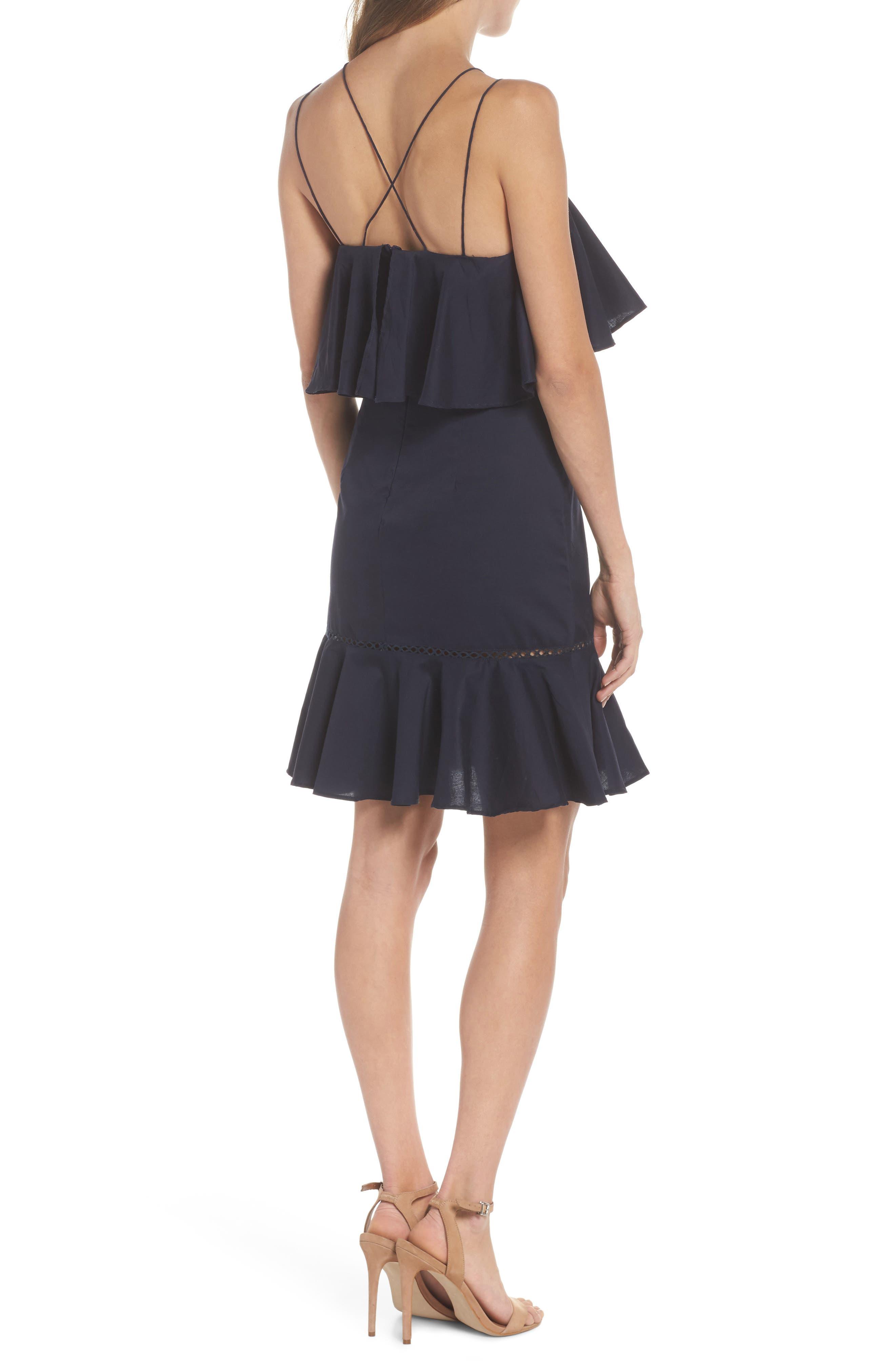 Lola Poplin Ruffle Dress,                             Alternate thumbnail 2, color,                             Navy