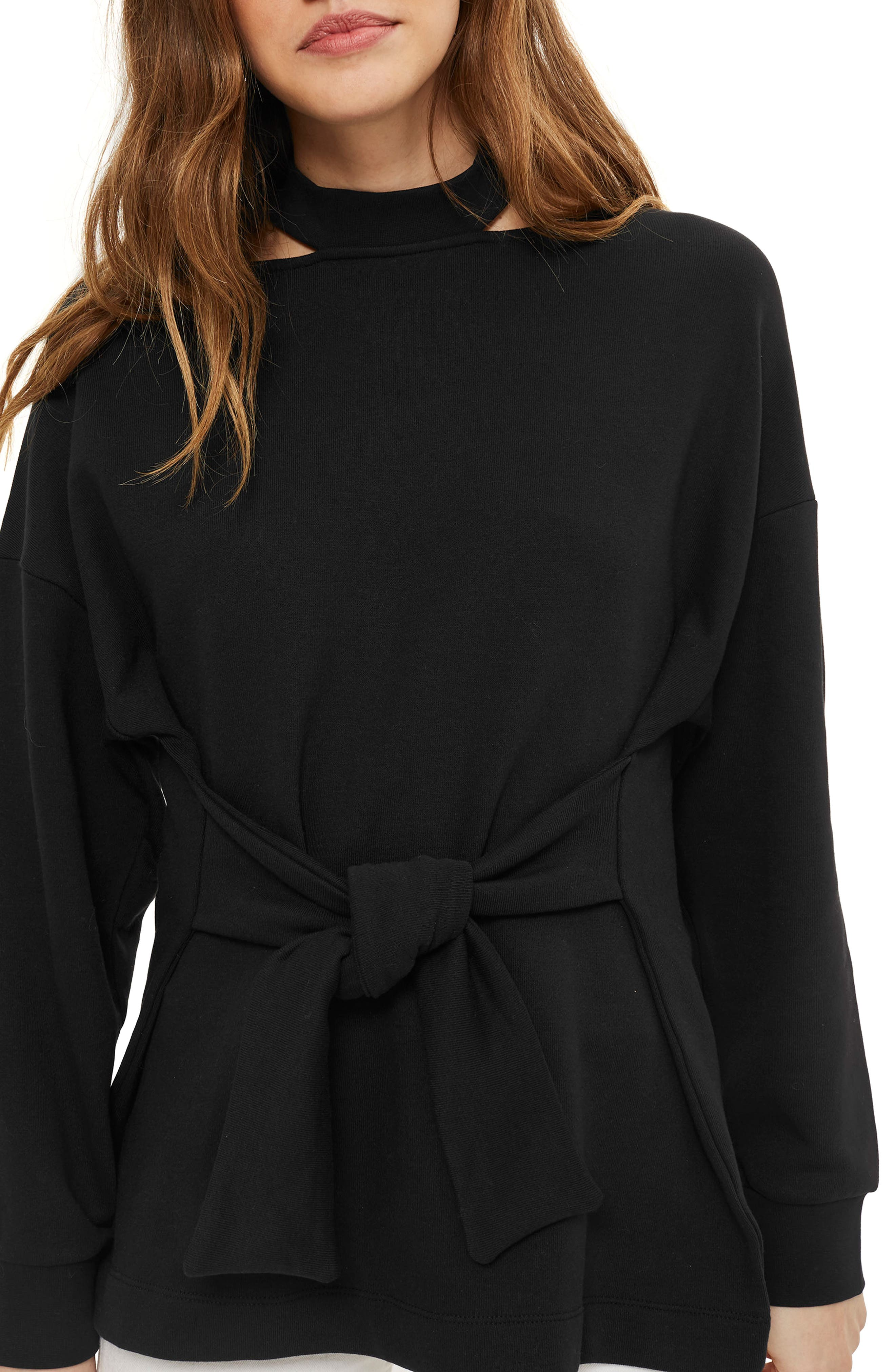 Cutout Belted Sweater,                         Main,                         color, Black
