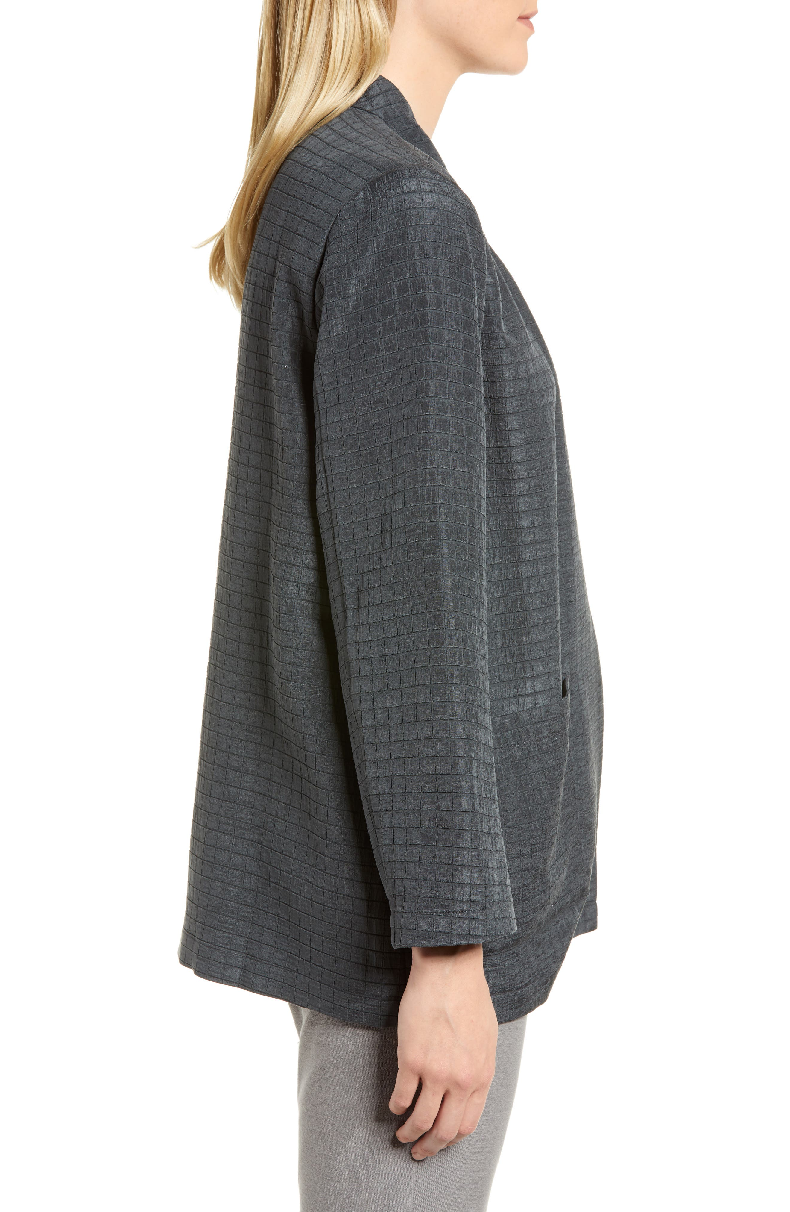 Silk Blend Kimono Jacket,                             Alternate thumbnail 3, color,                             Graphite