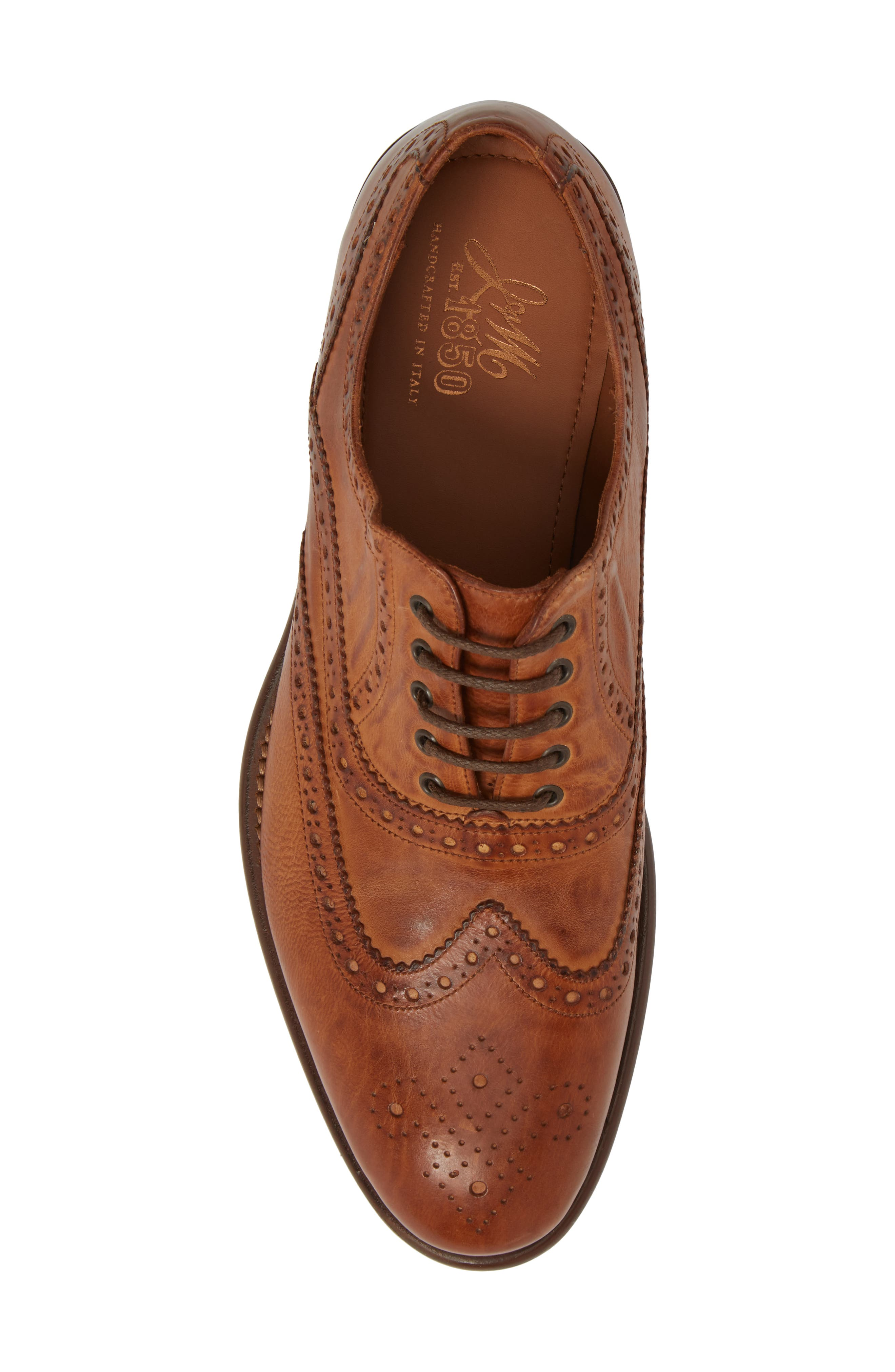 Bryson Wingtip Oxford,                             Alternate thumbnail 5, color,                             Cognac Leather