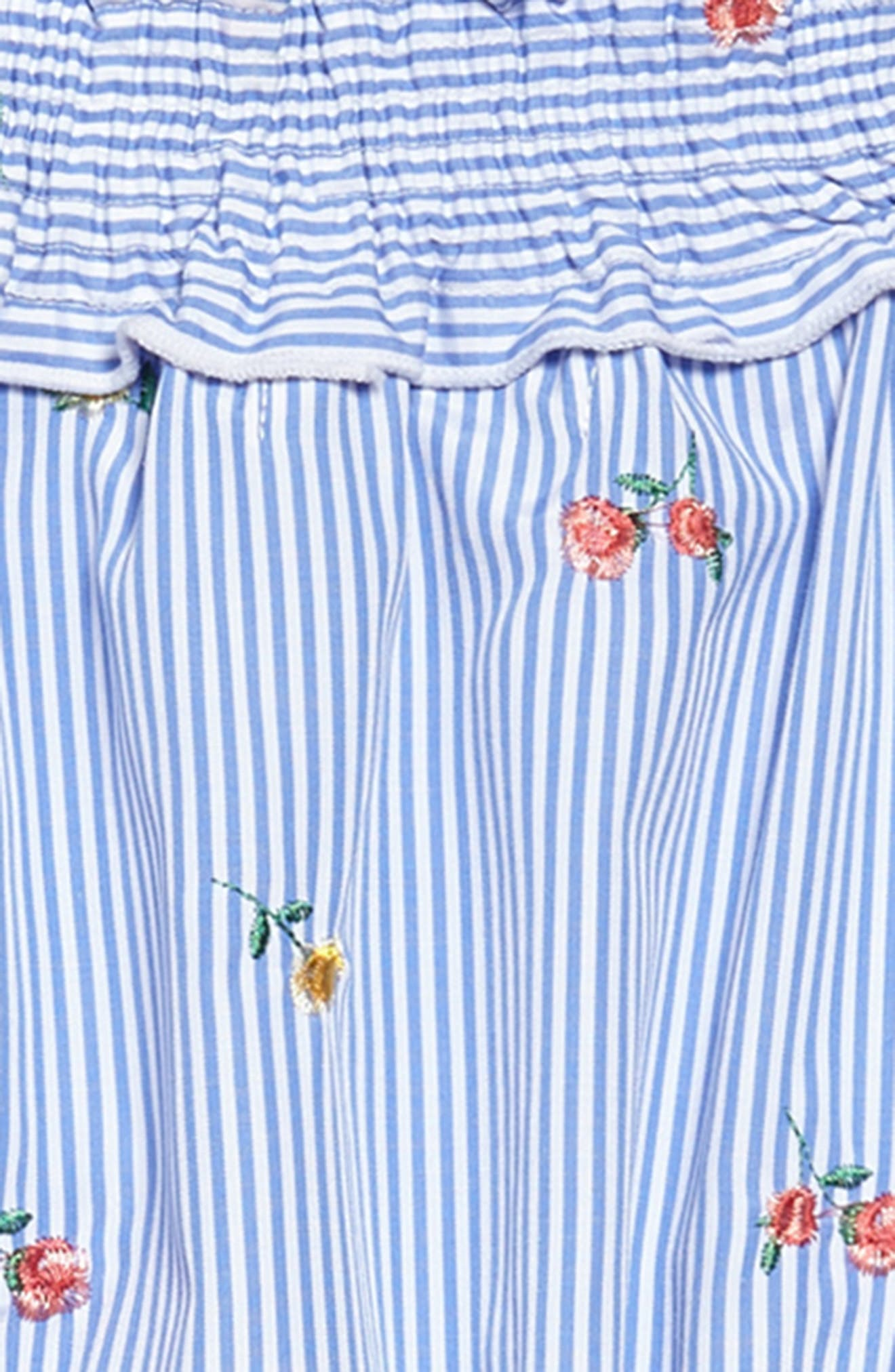 Floral Embroidery Stripe Off the Shoulder Dress,                             Alternate thumbnail 3, color,                             Light Blue/ White