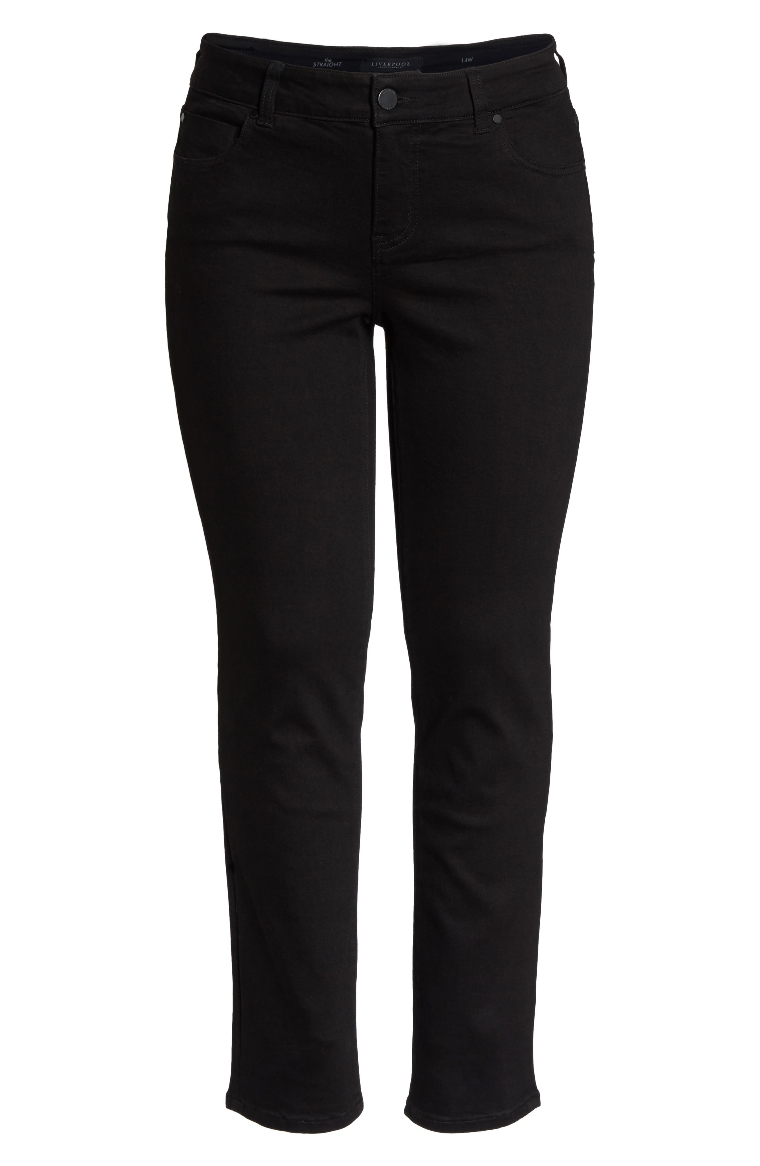 Sadie Stretch Straight Jeans,                             Alternate thumbnail 7, color,                             Black Rinse