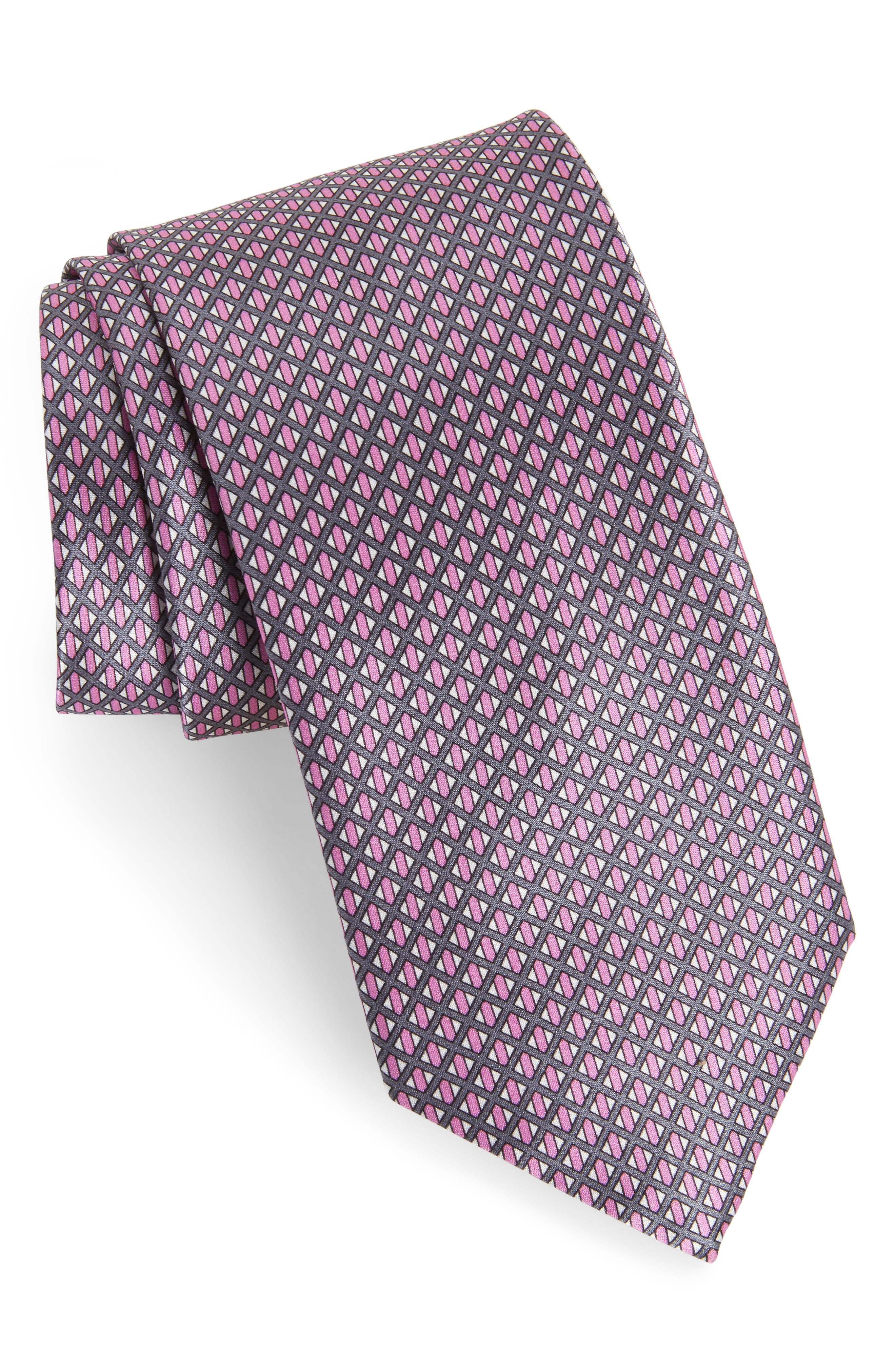 Neat Geometric Silk Tie,                             Main thumbnail 1, color,                             Violet/ Grey