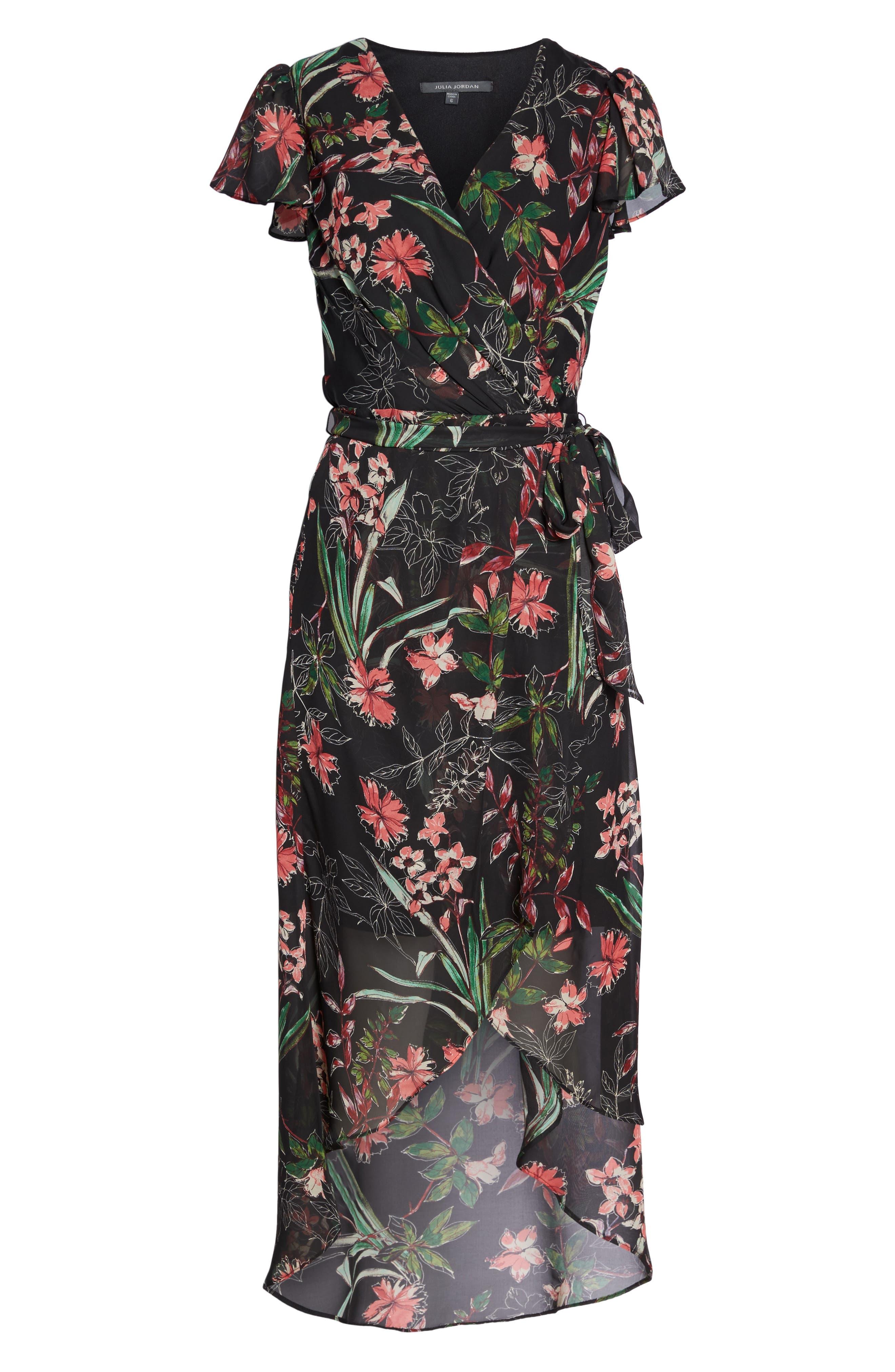 Chiffon Faux Wrap Dress,                             Alternate thumbnail 7, color,                             Black Multi