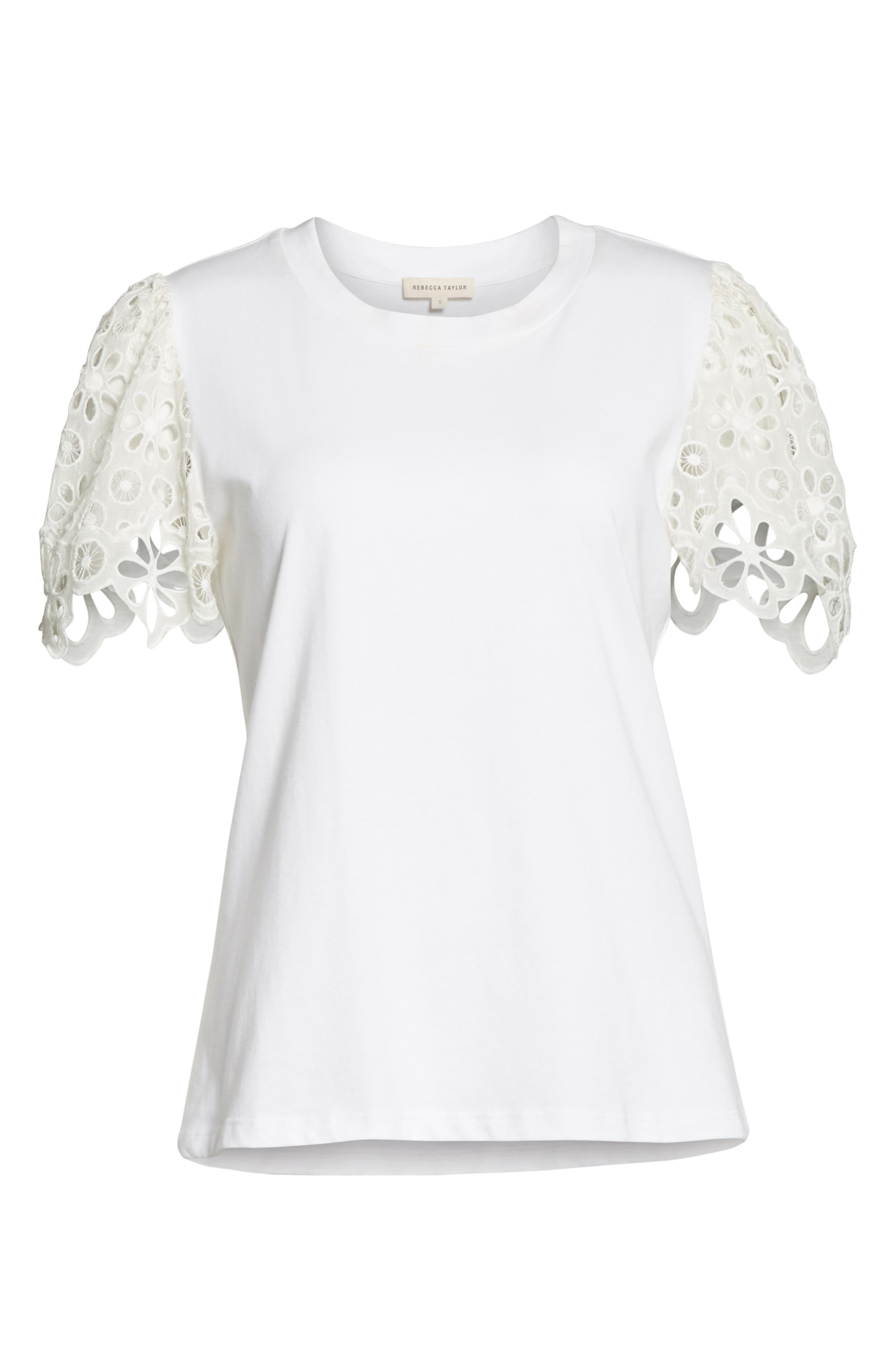 Lace Sleeve Cotton Jersey Top,                             Alternate thumbnail 6, color,                             Milk