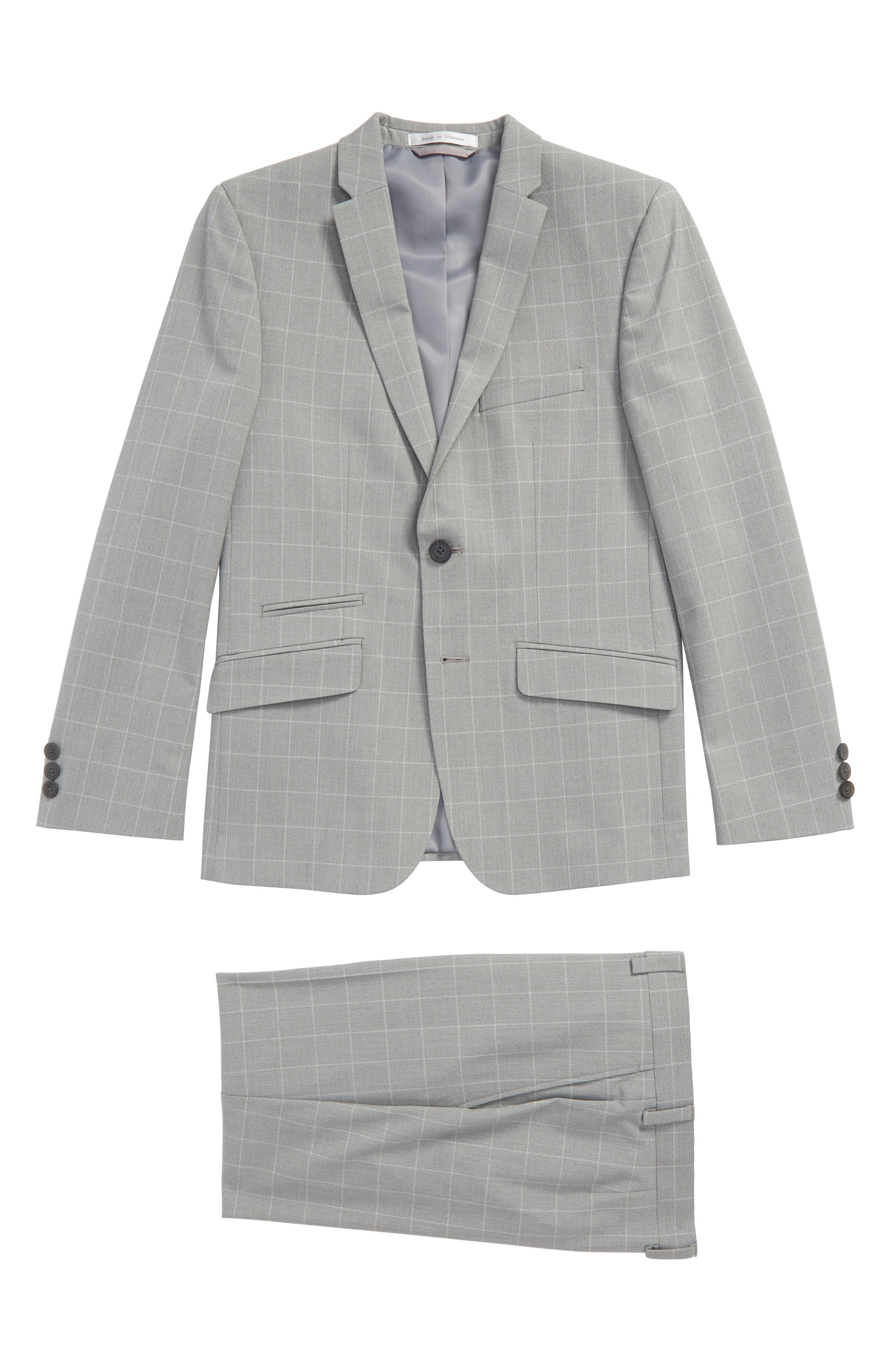 Andrew Marc Windowpane Skinny Fit Suit (Big Boys)