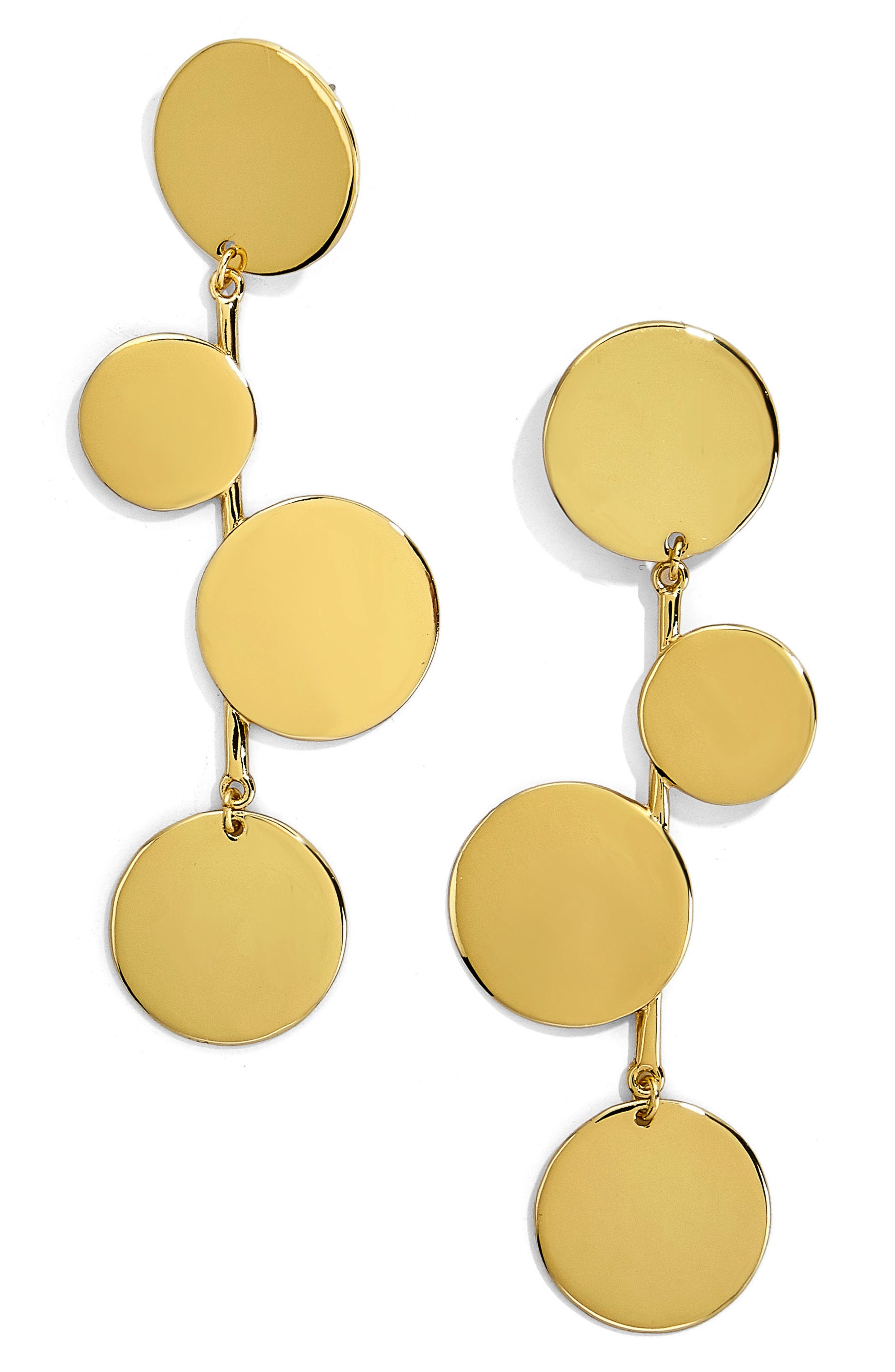 Rona Alternating Disc Statement Earrings,                             Main thumbnail 1, color,                             Gold