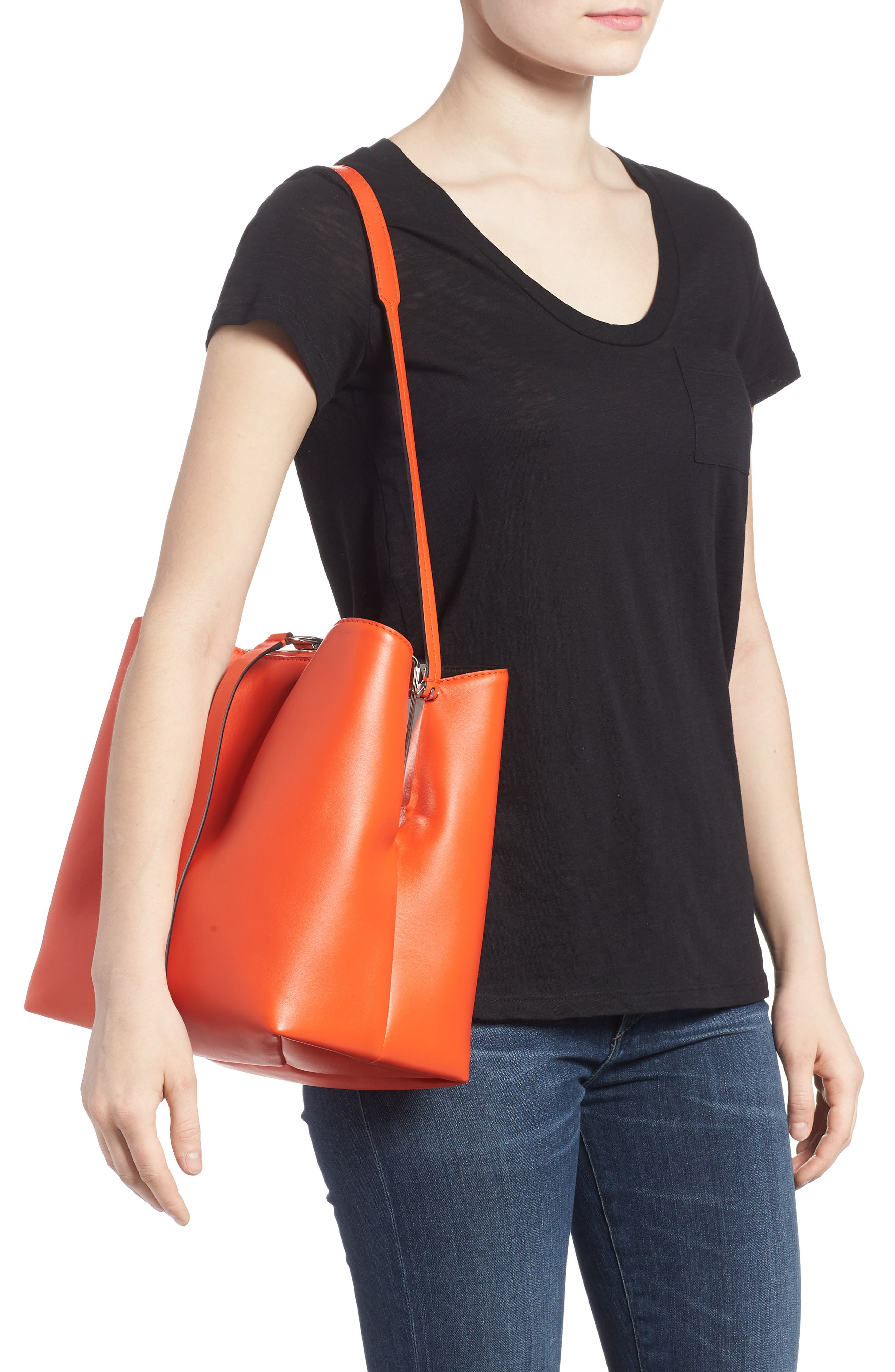 Frame Leather Shoulder Bag,                             Alternate thumbnail 2, color,                             Orange
