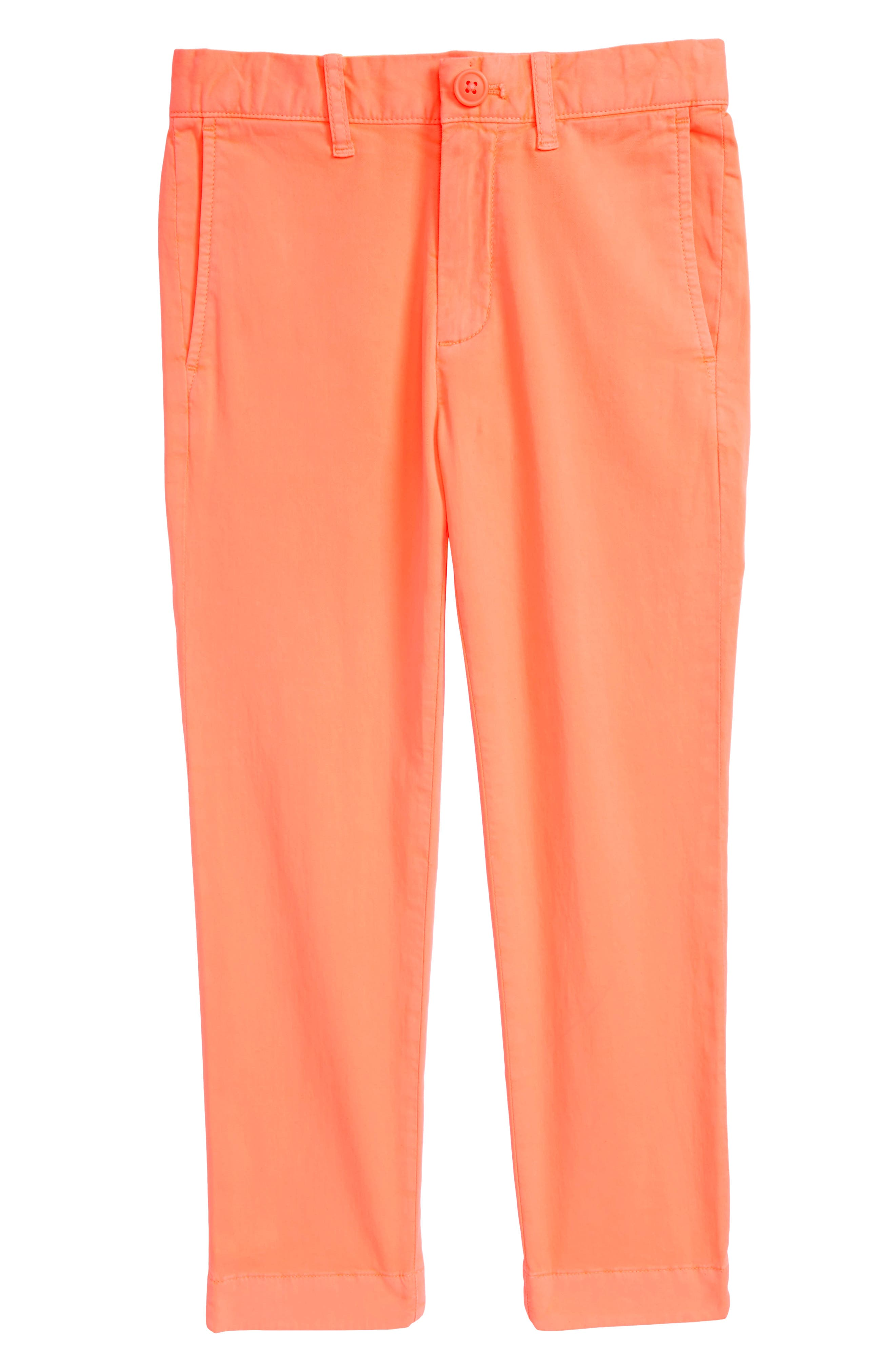 Skinny Stretch Chino Pants,                         Main,                         color, Neon Coral
