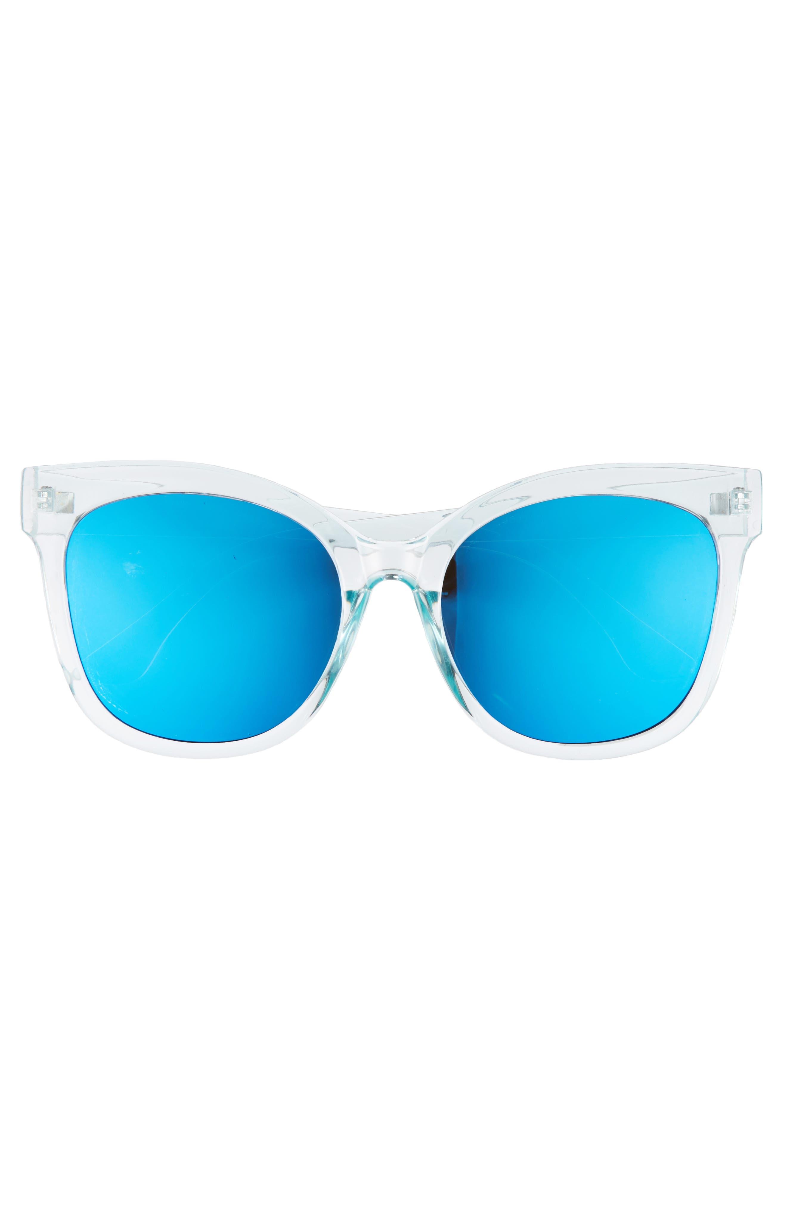 57mm Cat Eye Sunglasses,                             Alternate thumbnail 3, color,                             Green