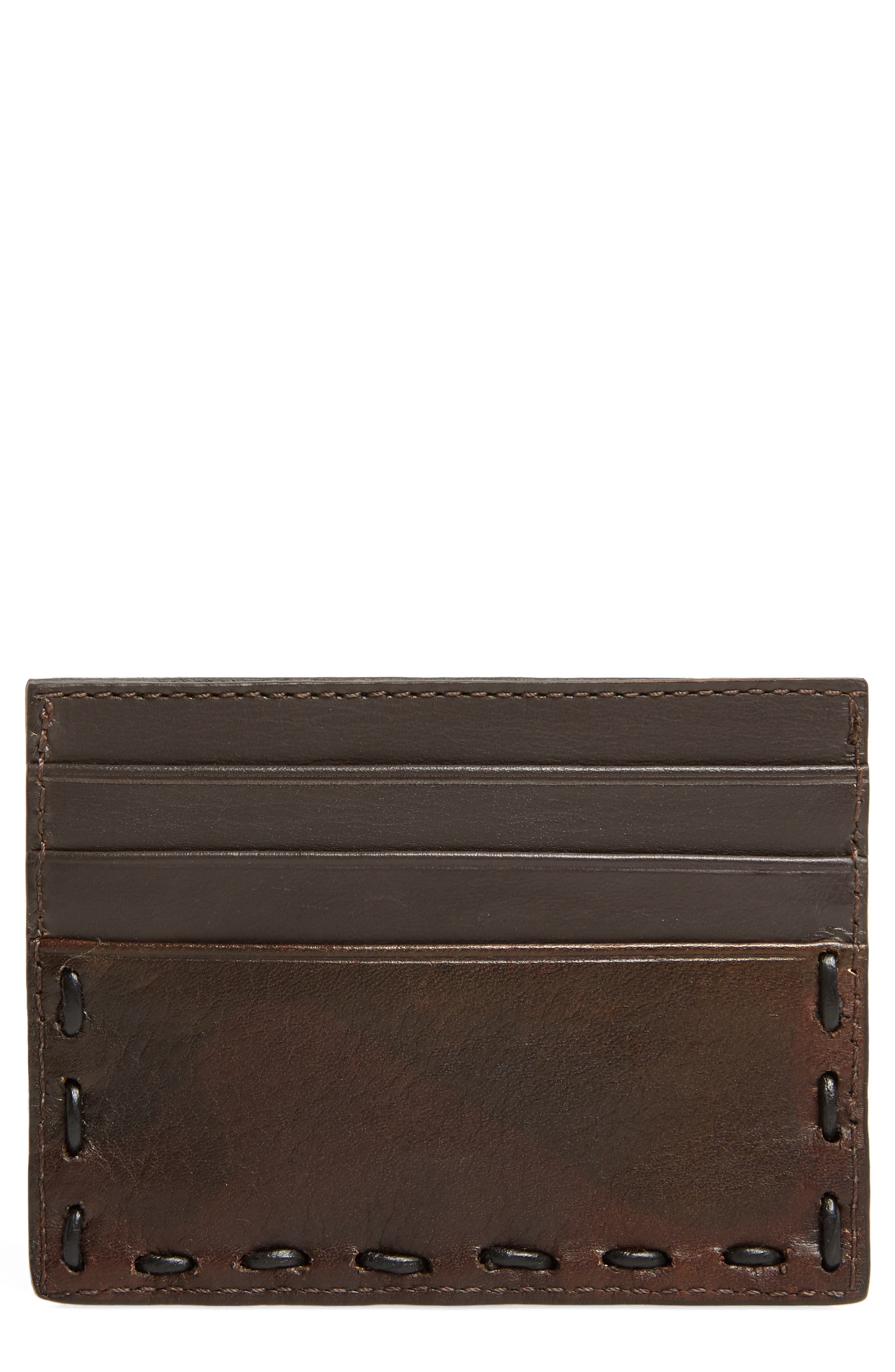 Pickstitched Leather Card Case,                             Main thumbnail 1, color,                             Distressed Brown