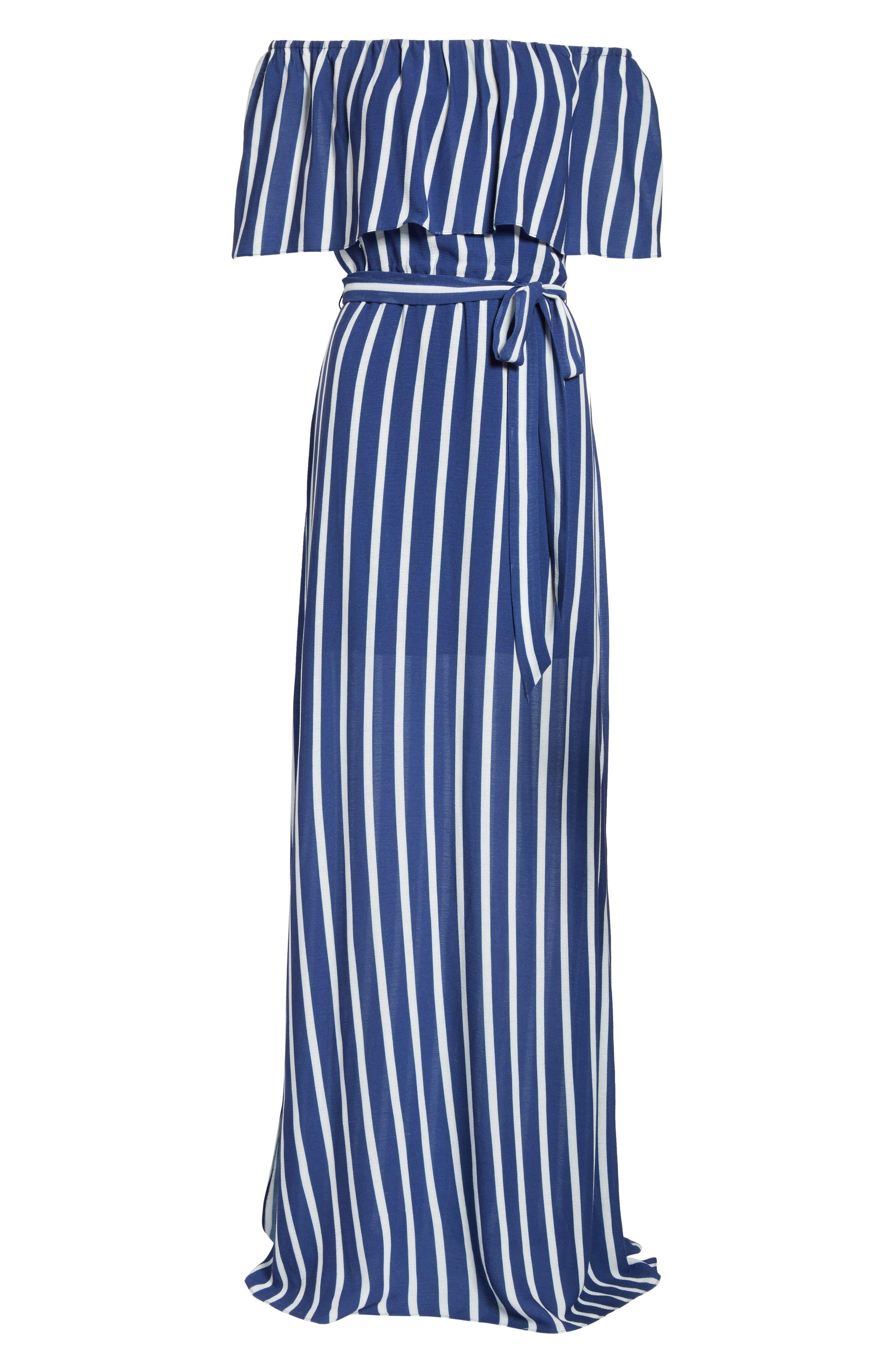 Grazi Off the Shoulder Maxi Dress,                             Alternate thumbnail 6, color,                             Oasis Stripe