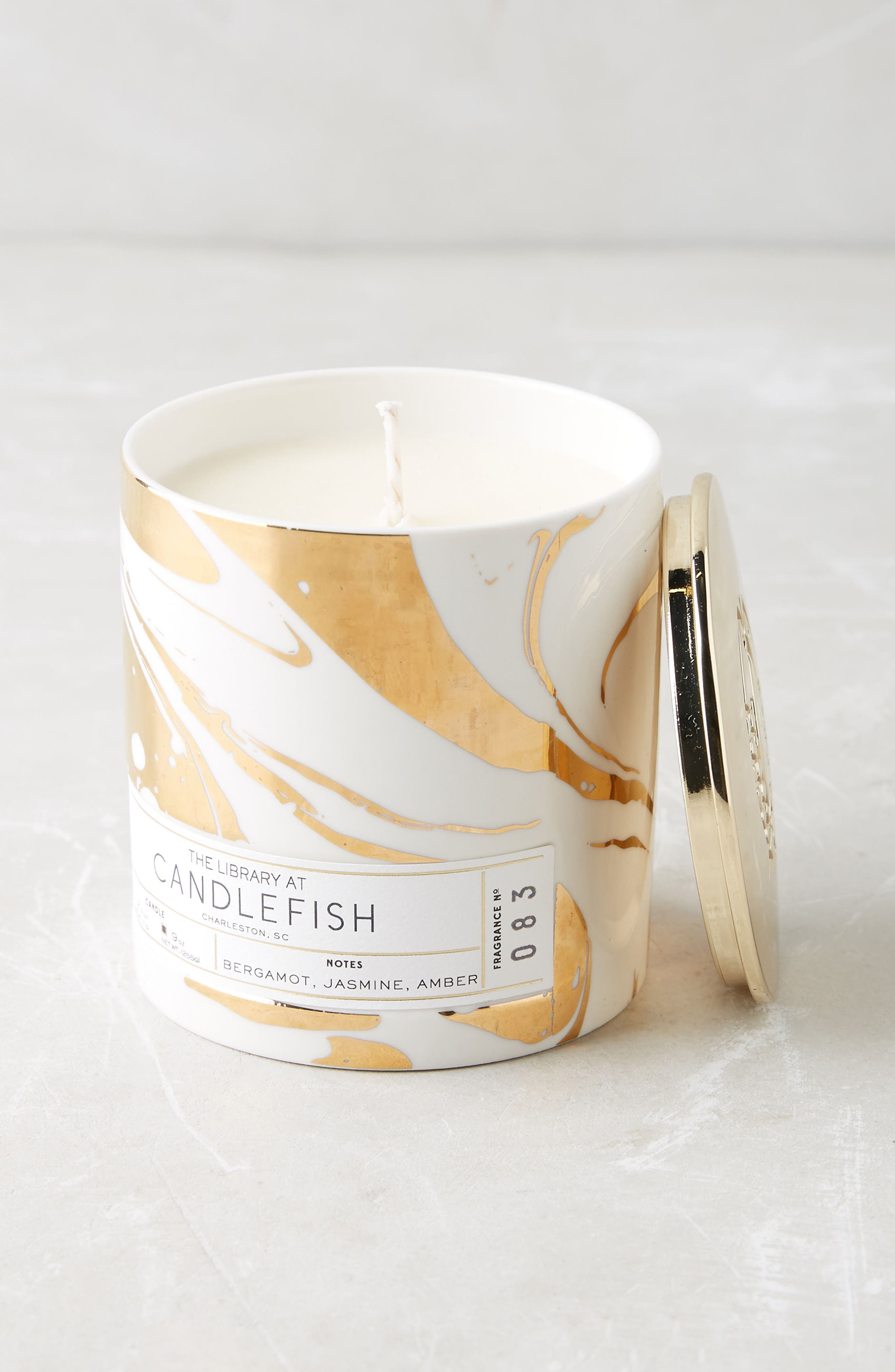 Candlefish Ceramic Candle,                         Main,                         color, Lime/ Leather/ Amber