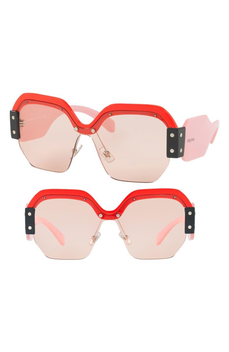 Miu Miu Sunglasses 132MM SUNGLASSES - RED/ PINK SOLID
