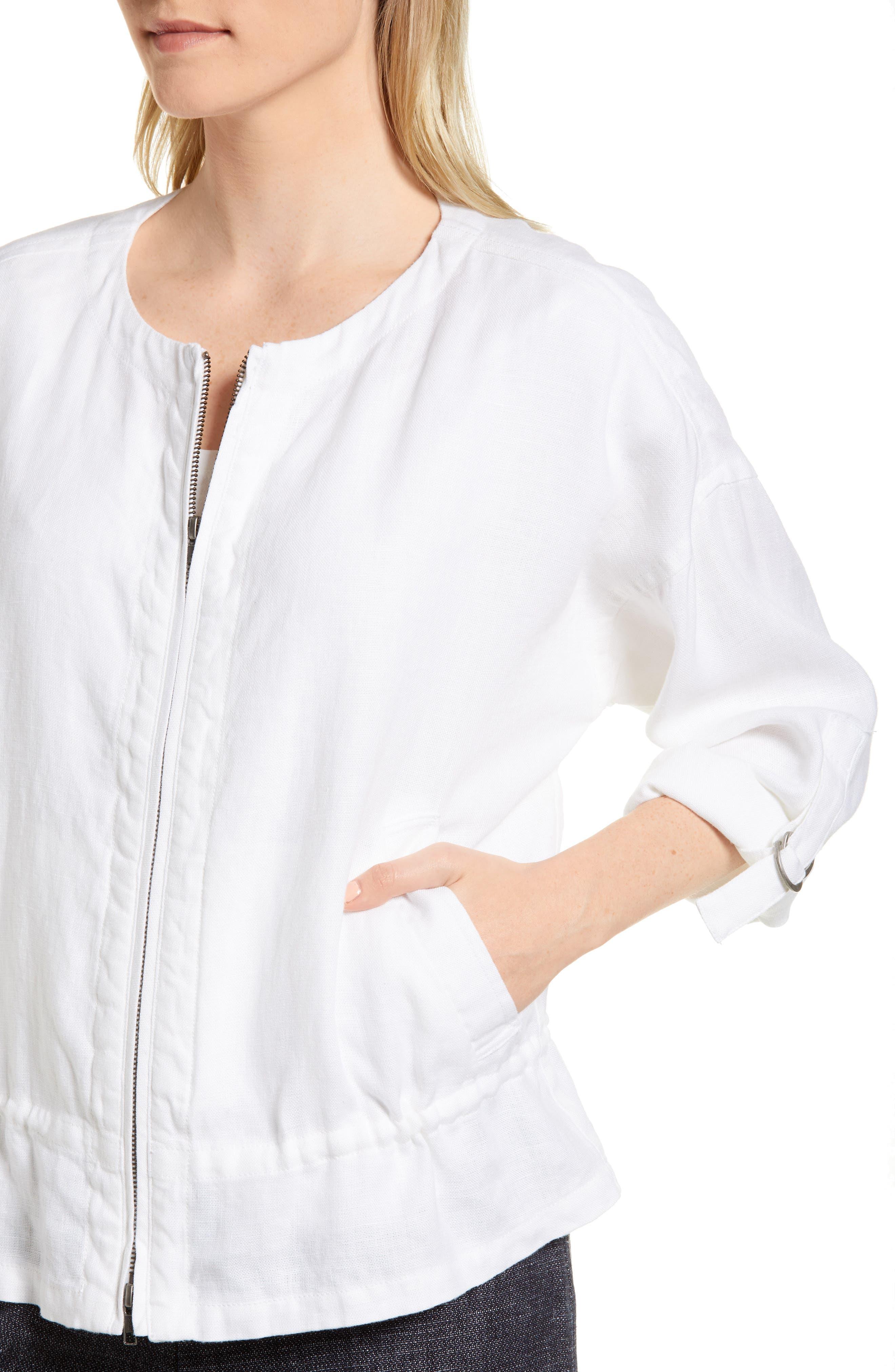 Drawstring Organic Linen Jacket,                             Alternate thumbnail 4, color,                             White