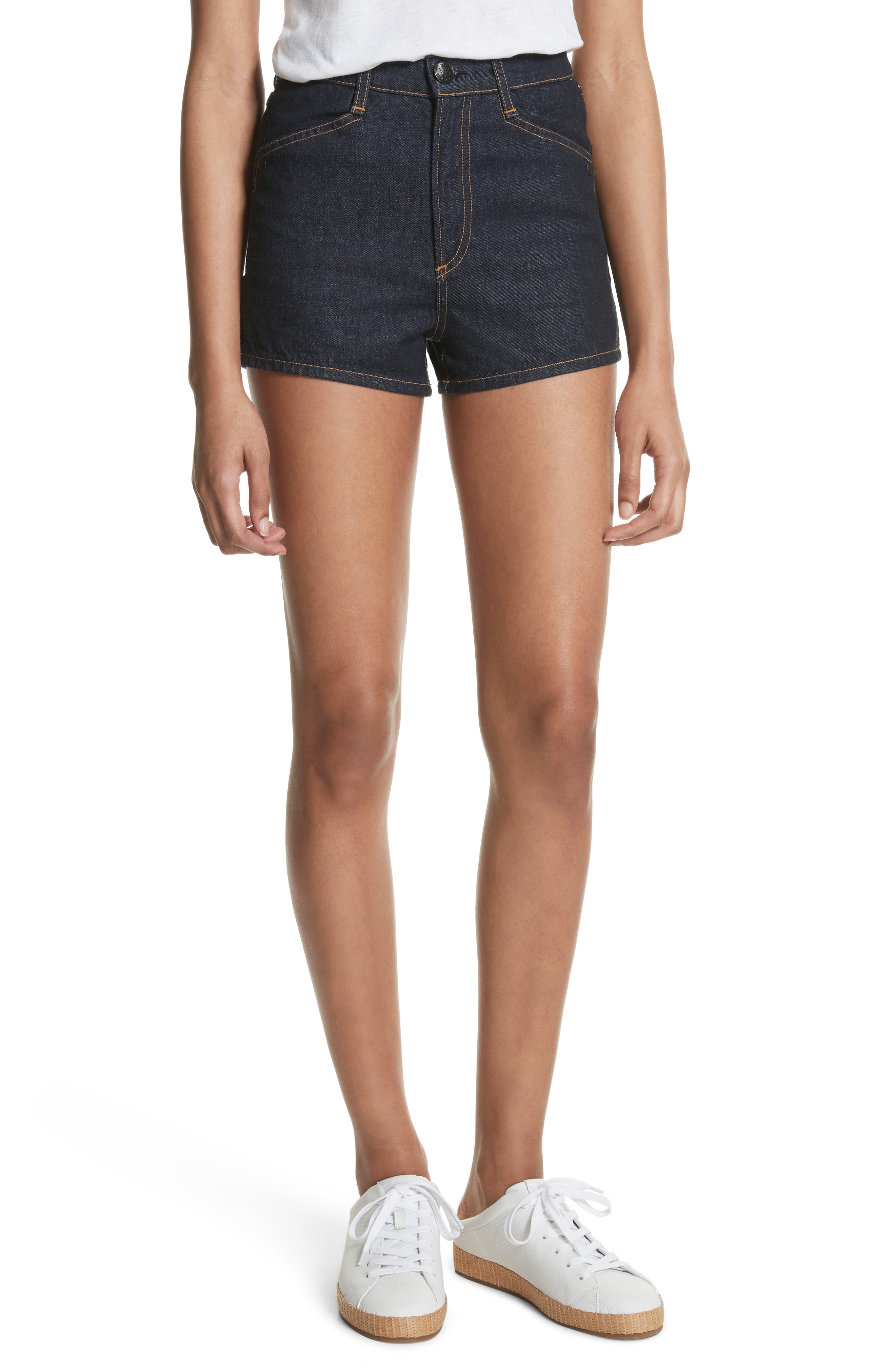 Ellie Denim Shorts,                         Main,                         color, Indigo