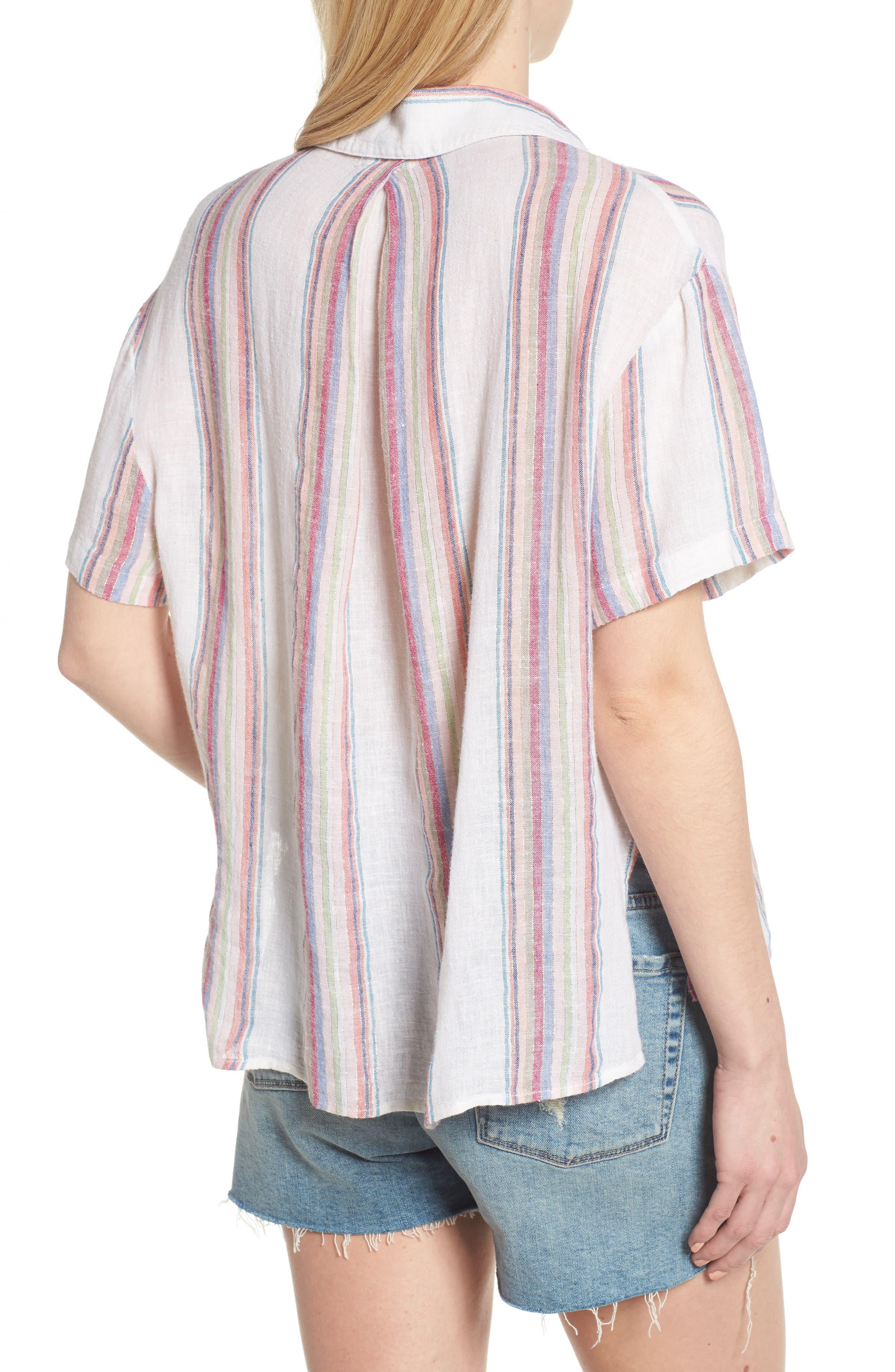 Zuma Stripe Linen Blend Top,                             Alternate thumbnail 2, color,                             Havana Stripe