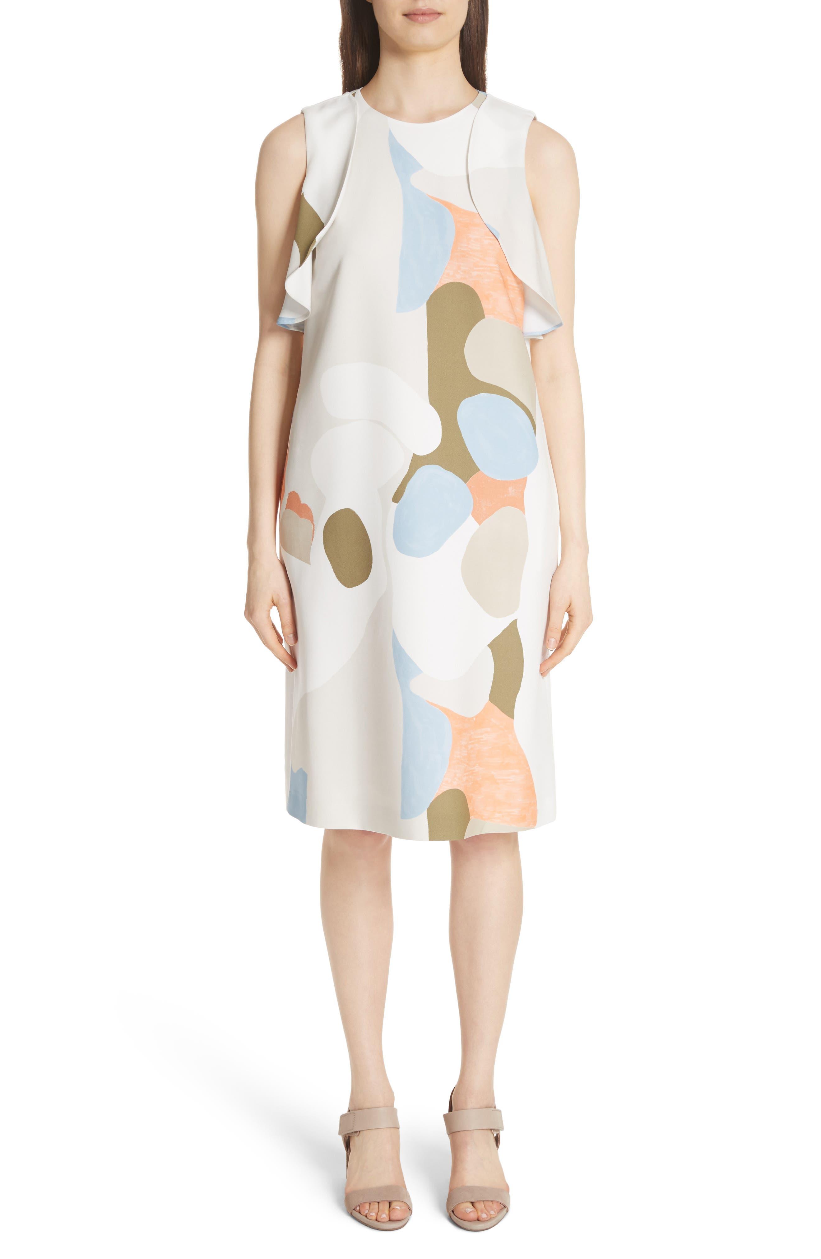 Landscape Expression Print Ruffle Dress,                             Main thumbnail 1, color,                             Cloud Multi