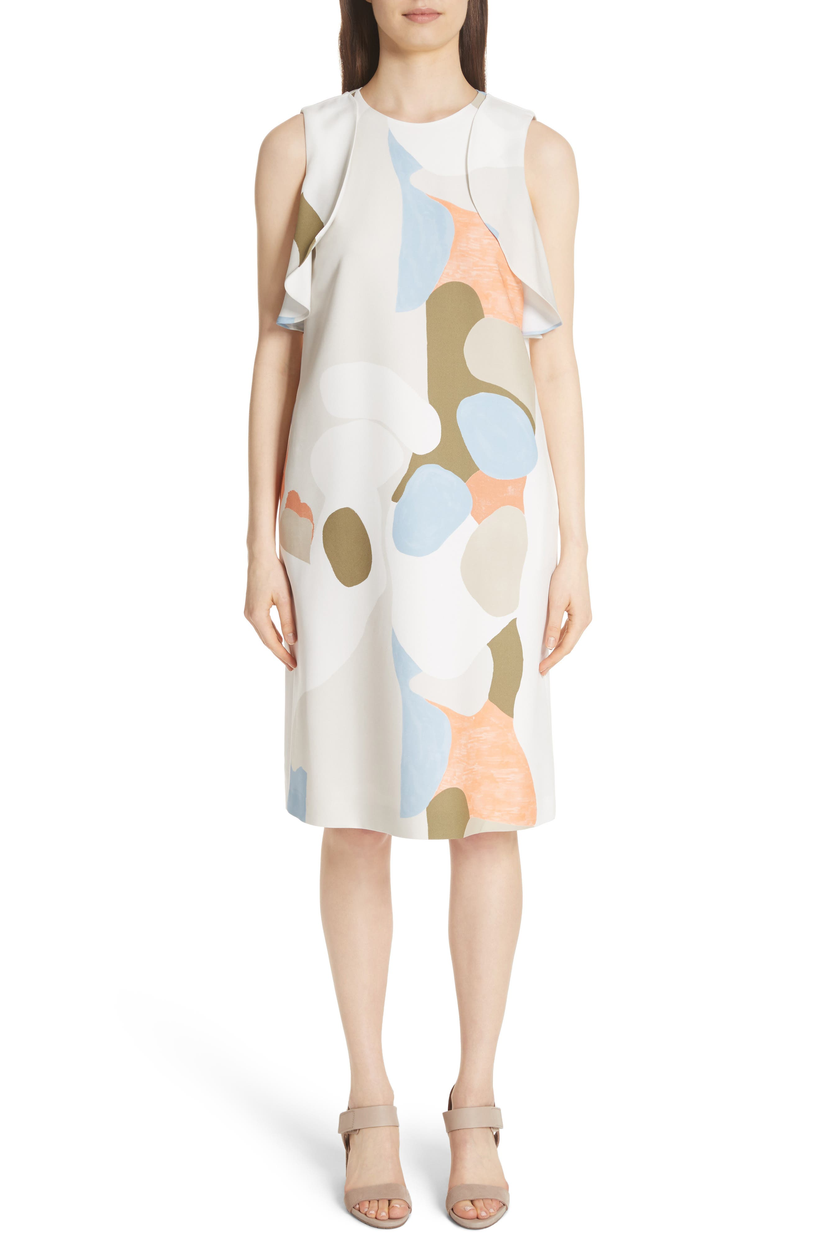 Landscape Expression Print Ruffle Dress,                         Main,                         color, Cloud Multi