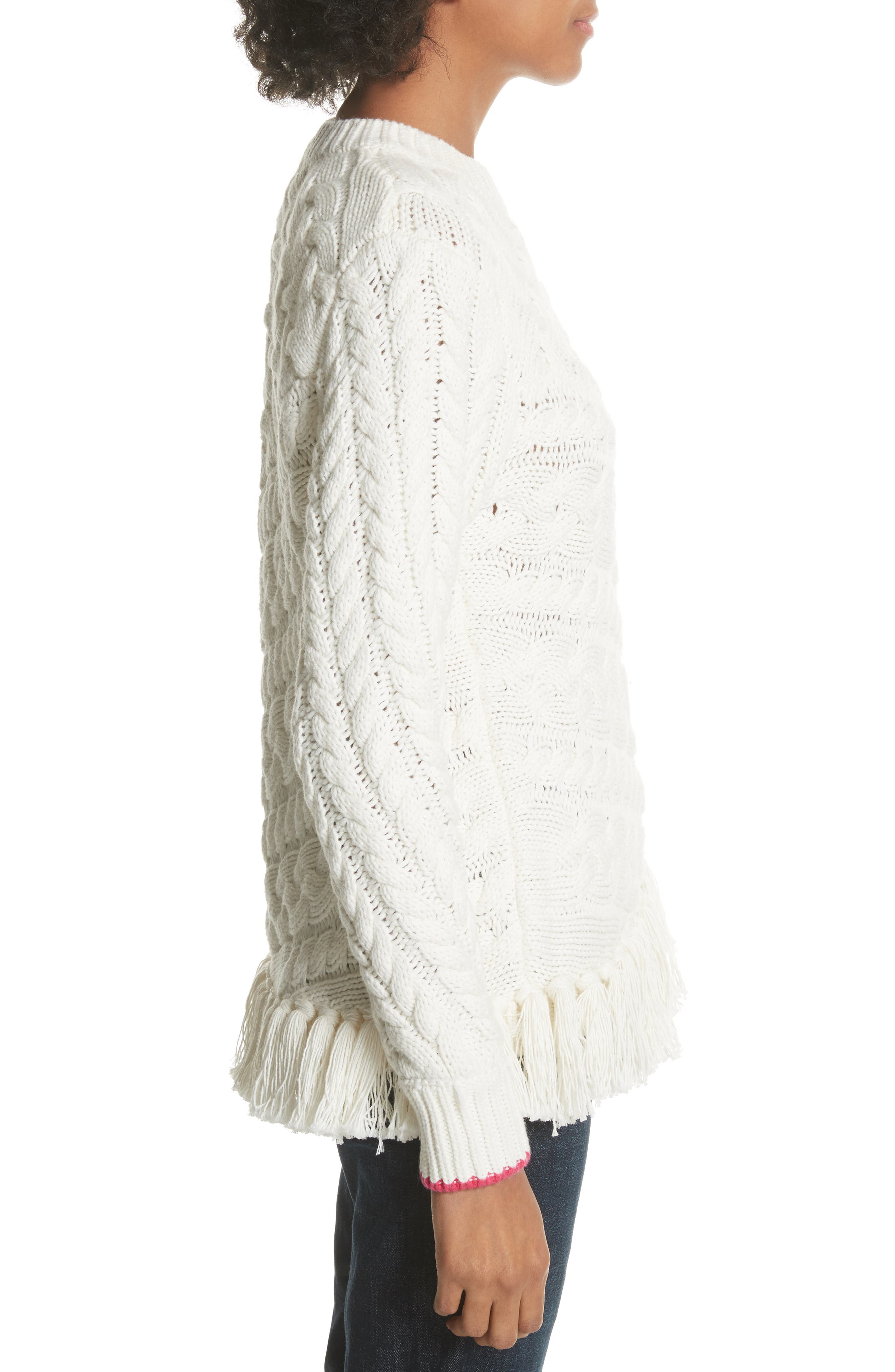 Colour by Numbers Jaia Fringe Sweater,                             Alternate thumbnail 3, color,                             White