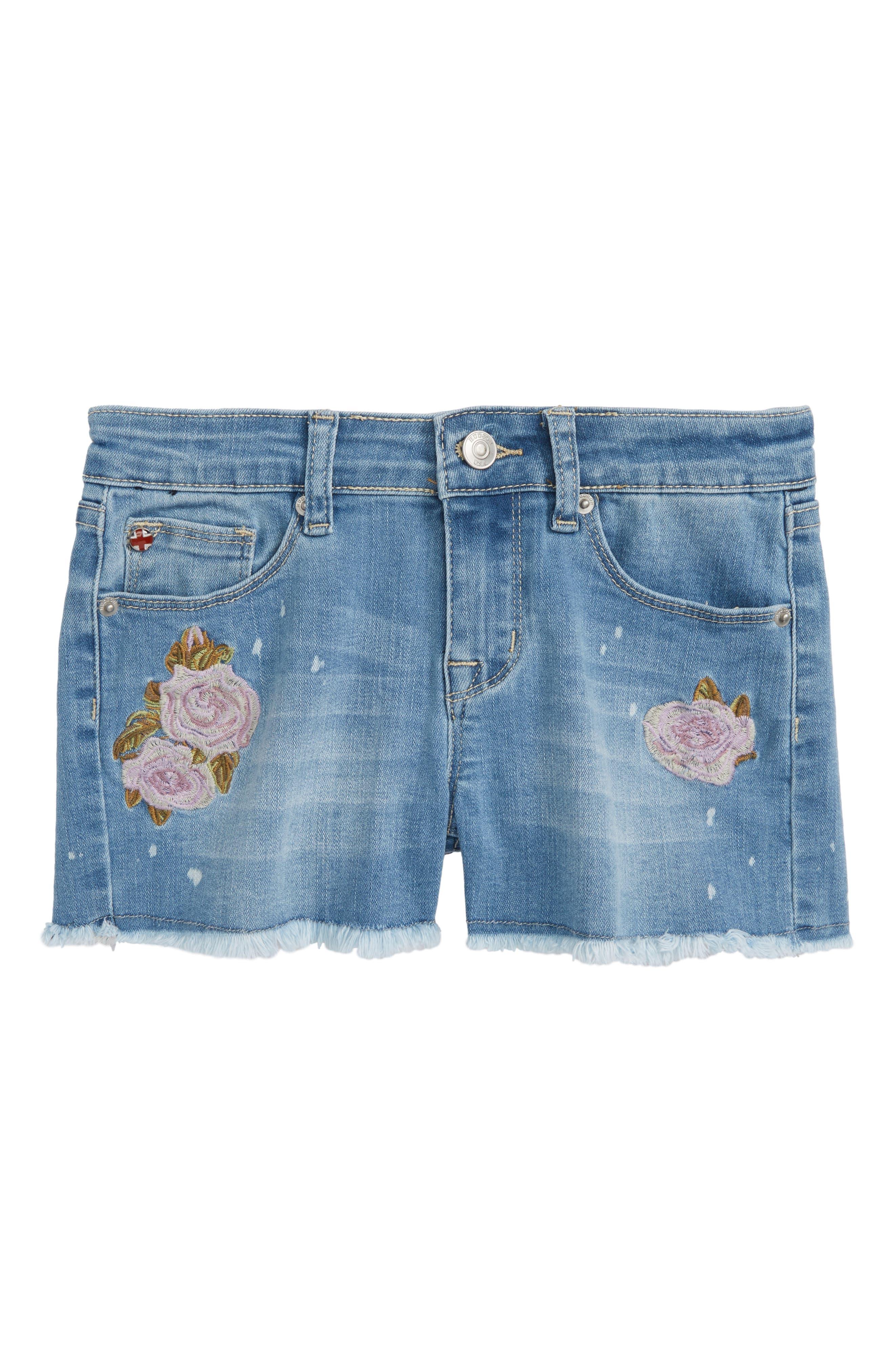 Floral Appliqué Fray Shorts,                             Main thumbnail 1, color,                             Whatever Wash