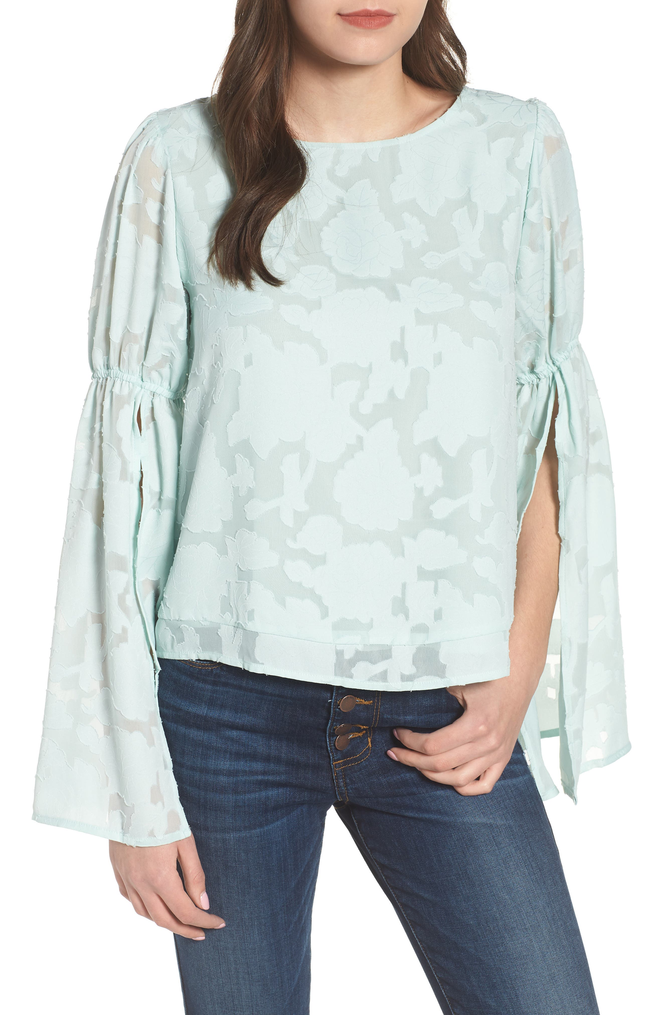 Puff Flared Sleeve Blouse,                         Main,                         color, Teal Surf