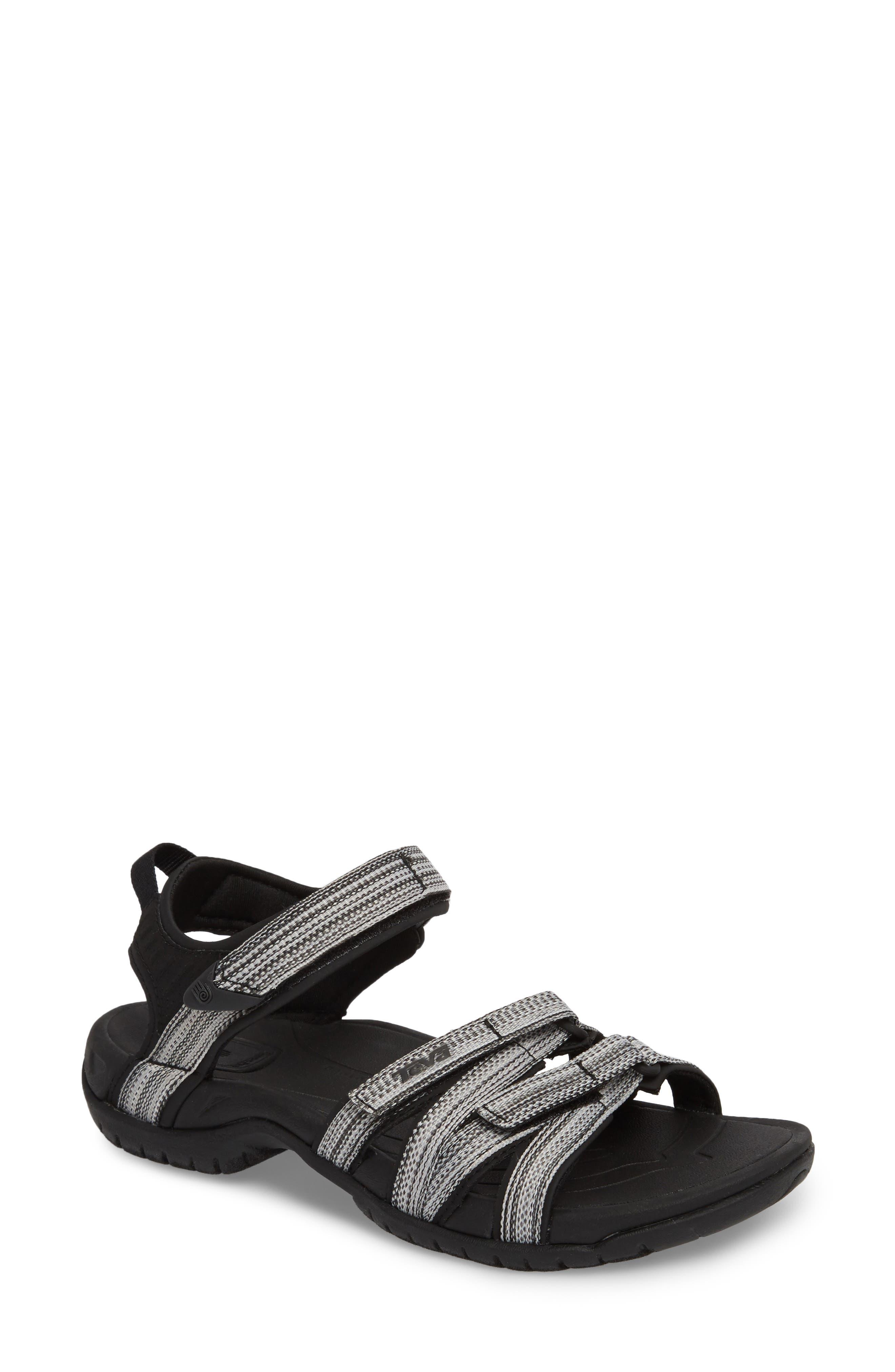'Tirra' Sandal,                             Main thumbnail 1, color,                             Black/ White Multi Fabric