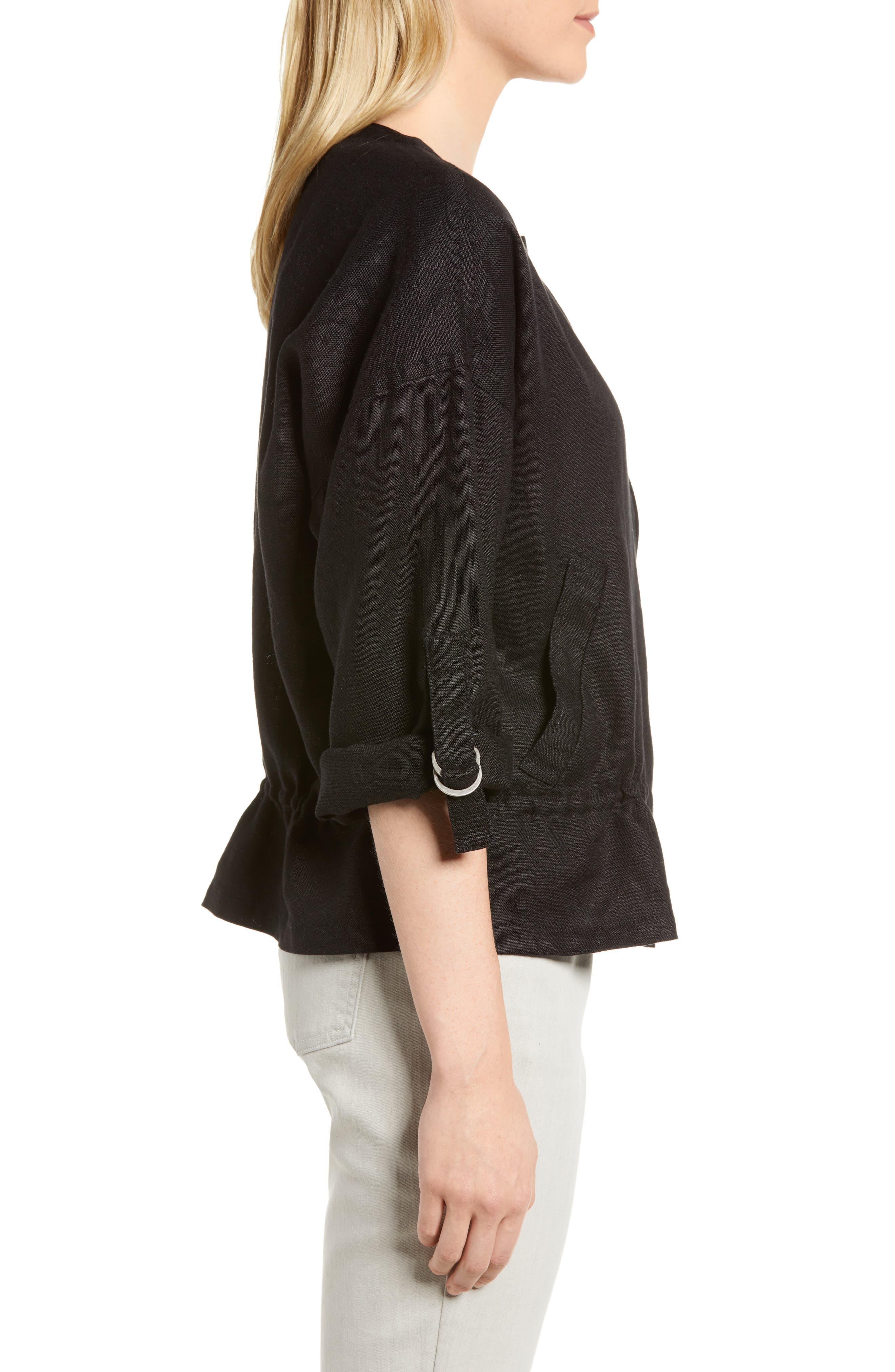 Drawstring Organic Linen Jacket,                             Alternate thumbnail 3, color,                             Black