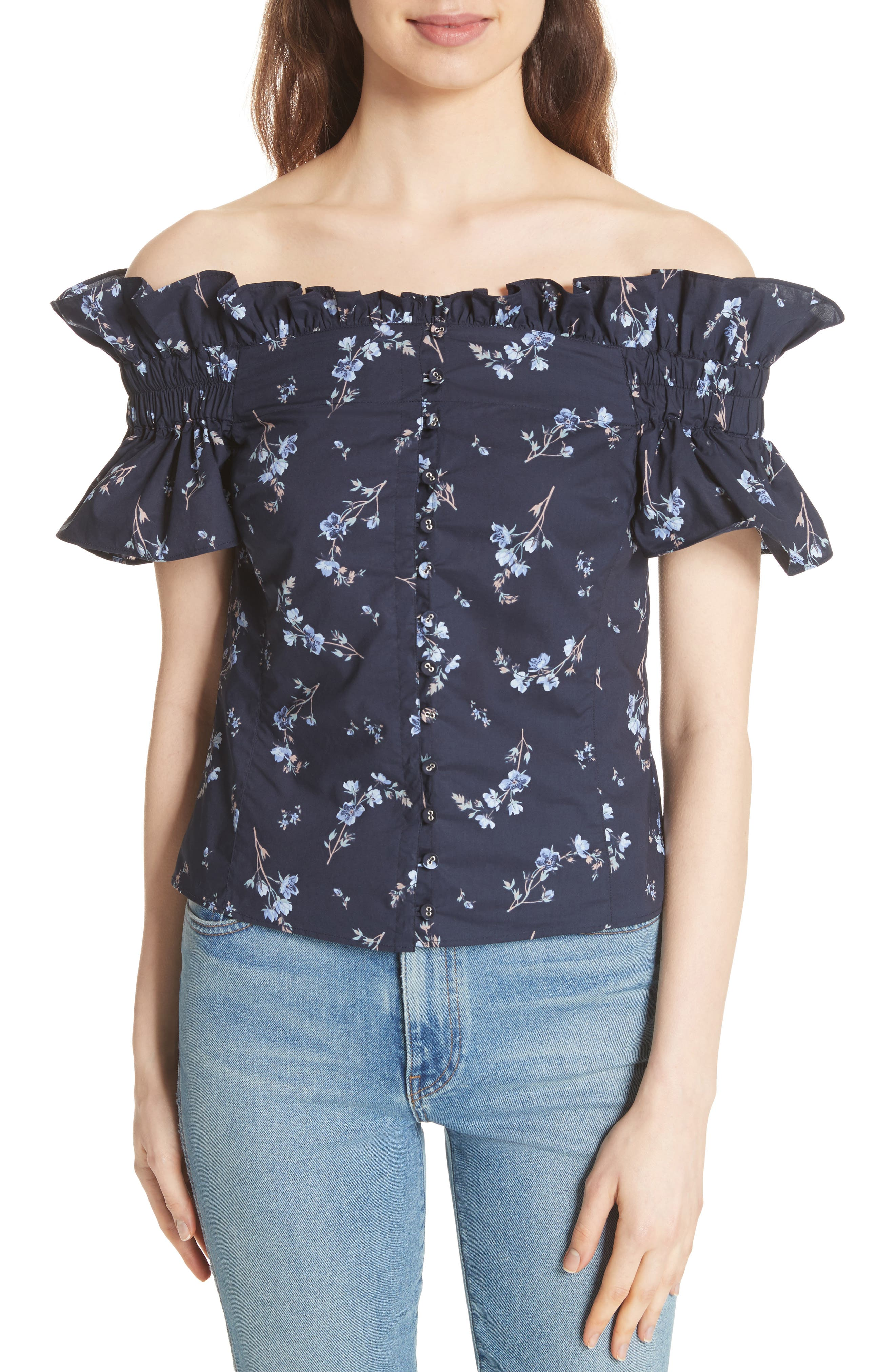Francine Off the Shoulder Cotton Top,                         Main,                         color, Navy Combo