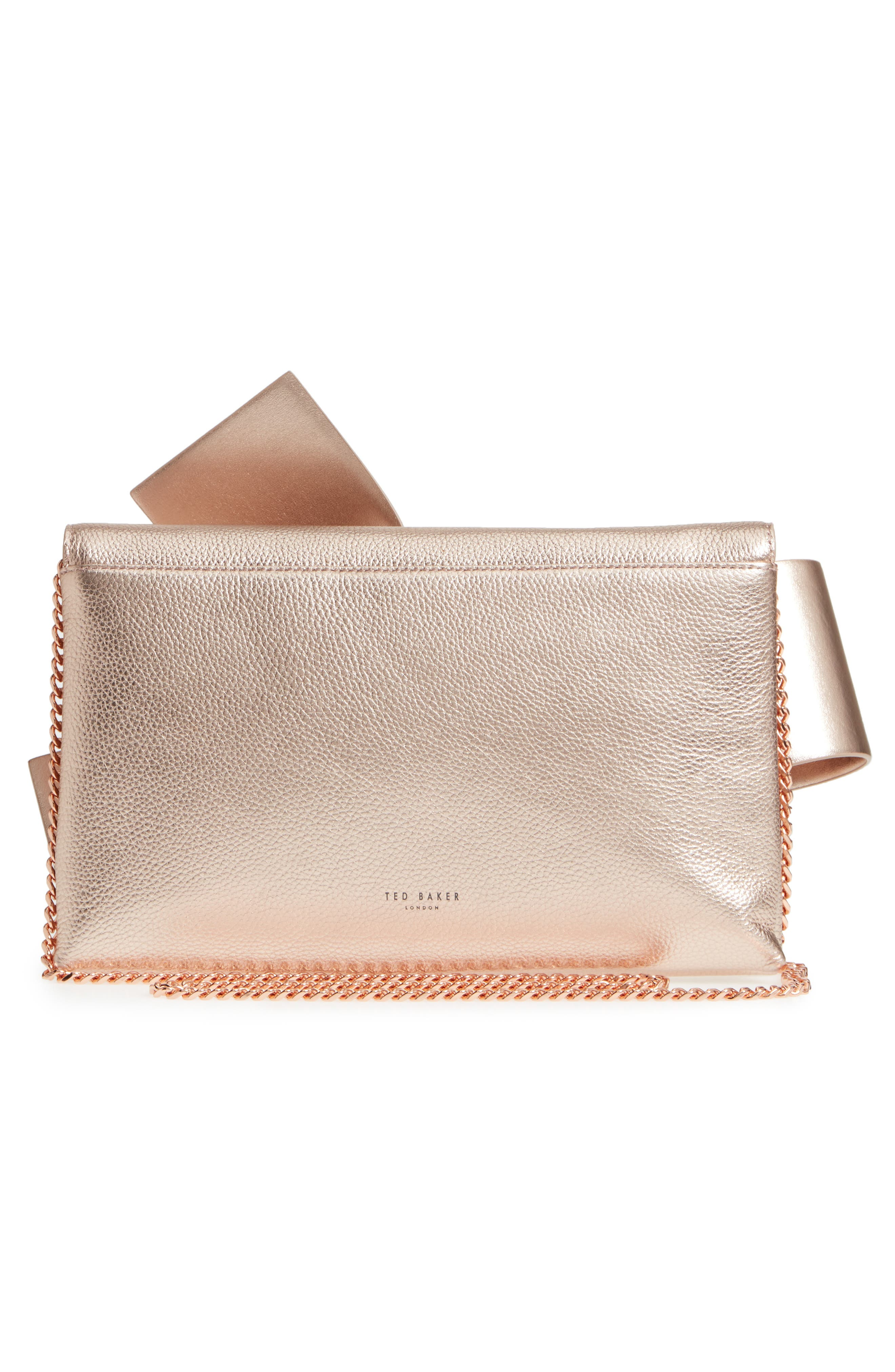 Knotted Bow Leather Clutch,                             Alternate thumbnail 3, color,                             Rose Gold