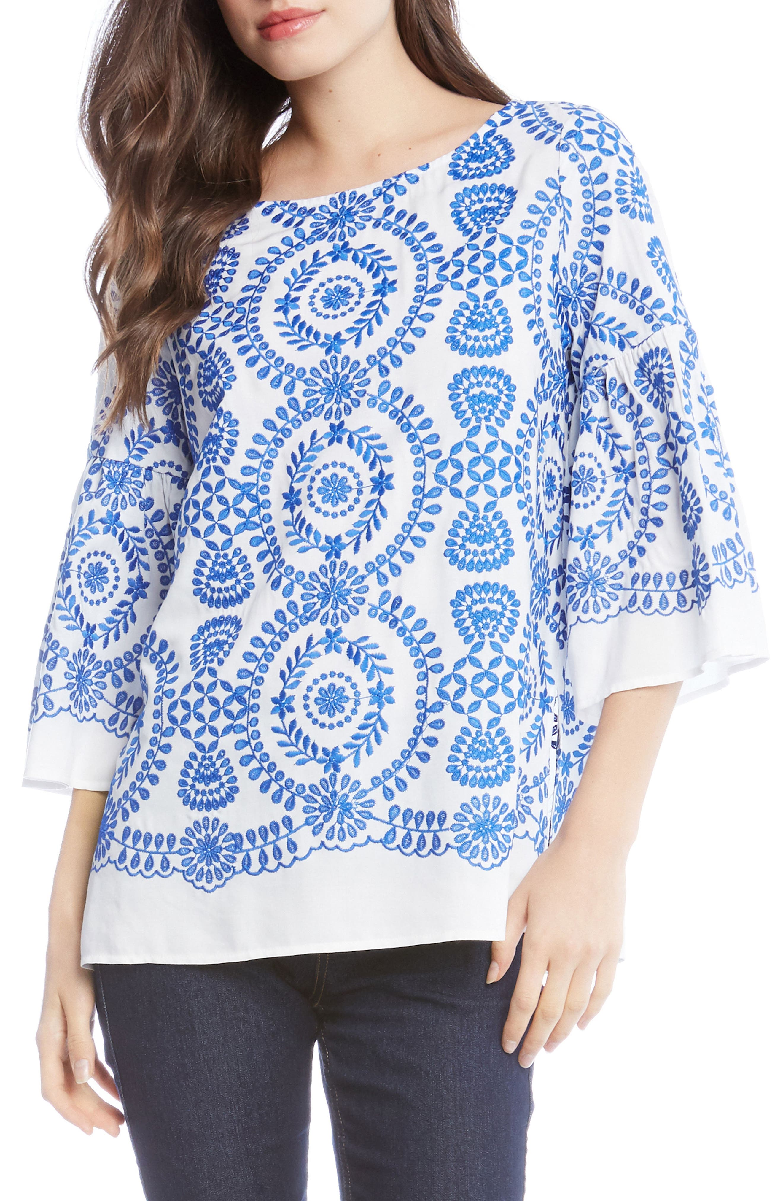 Embroidered Medallion Top,                             Main thumbnail 1, color,                             Off White