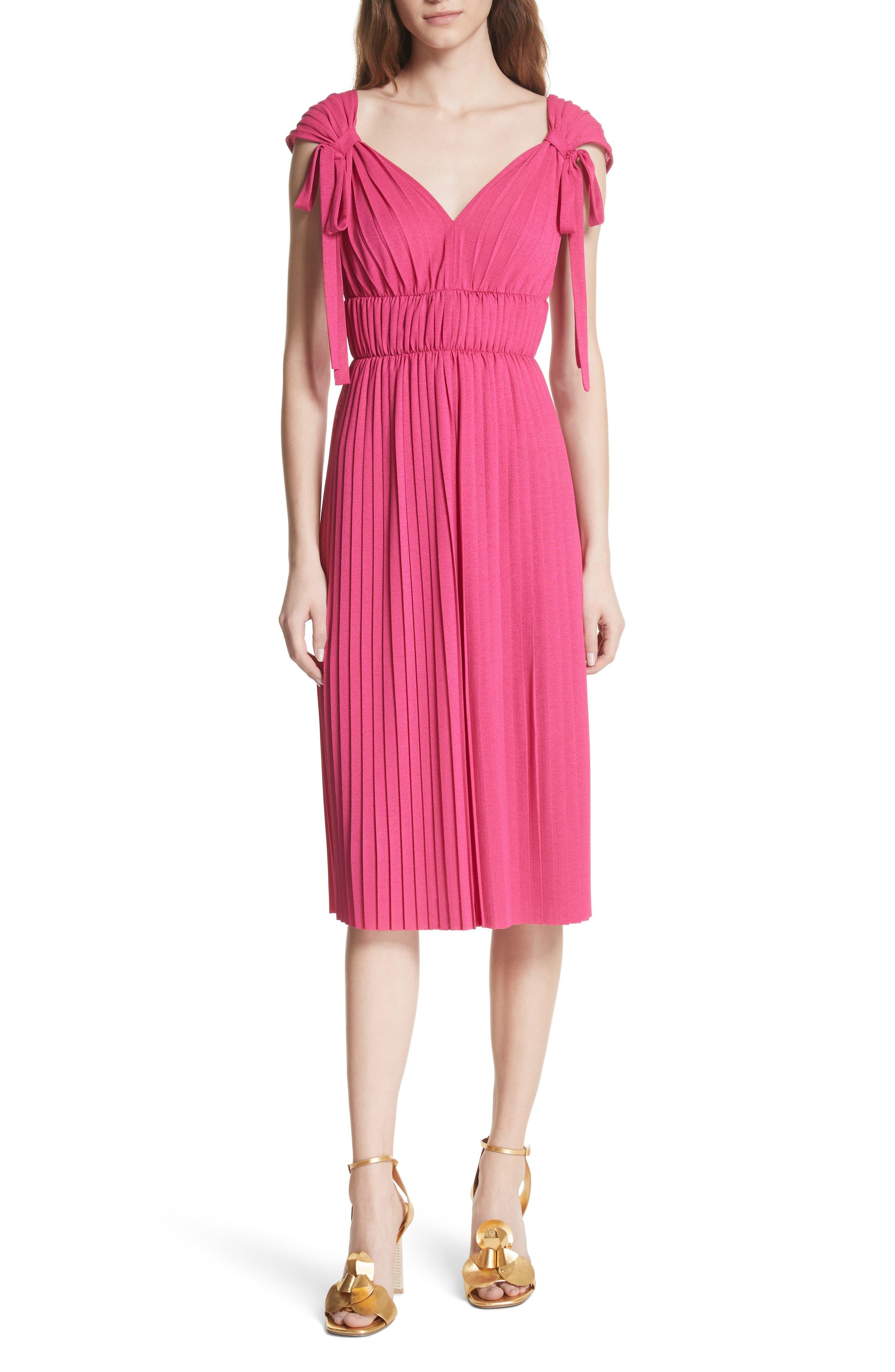 Grecian Pleat Dress,                             Main thumbnail 1, color,                             Cyclamen