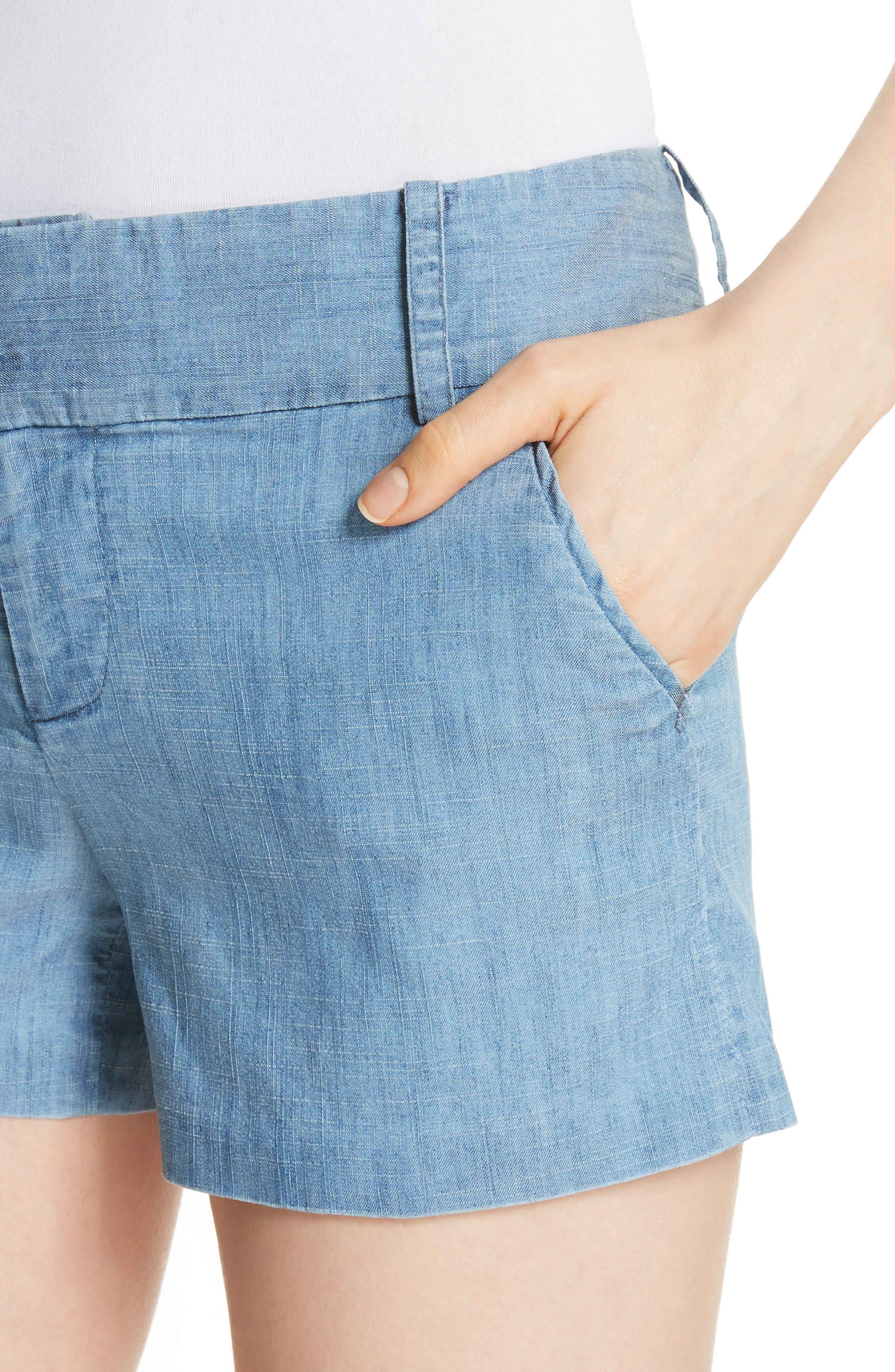 Cady Lyocell Blend Shorts,                             Alternate thumbnail 4, color,                             Light Chambray