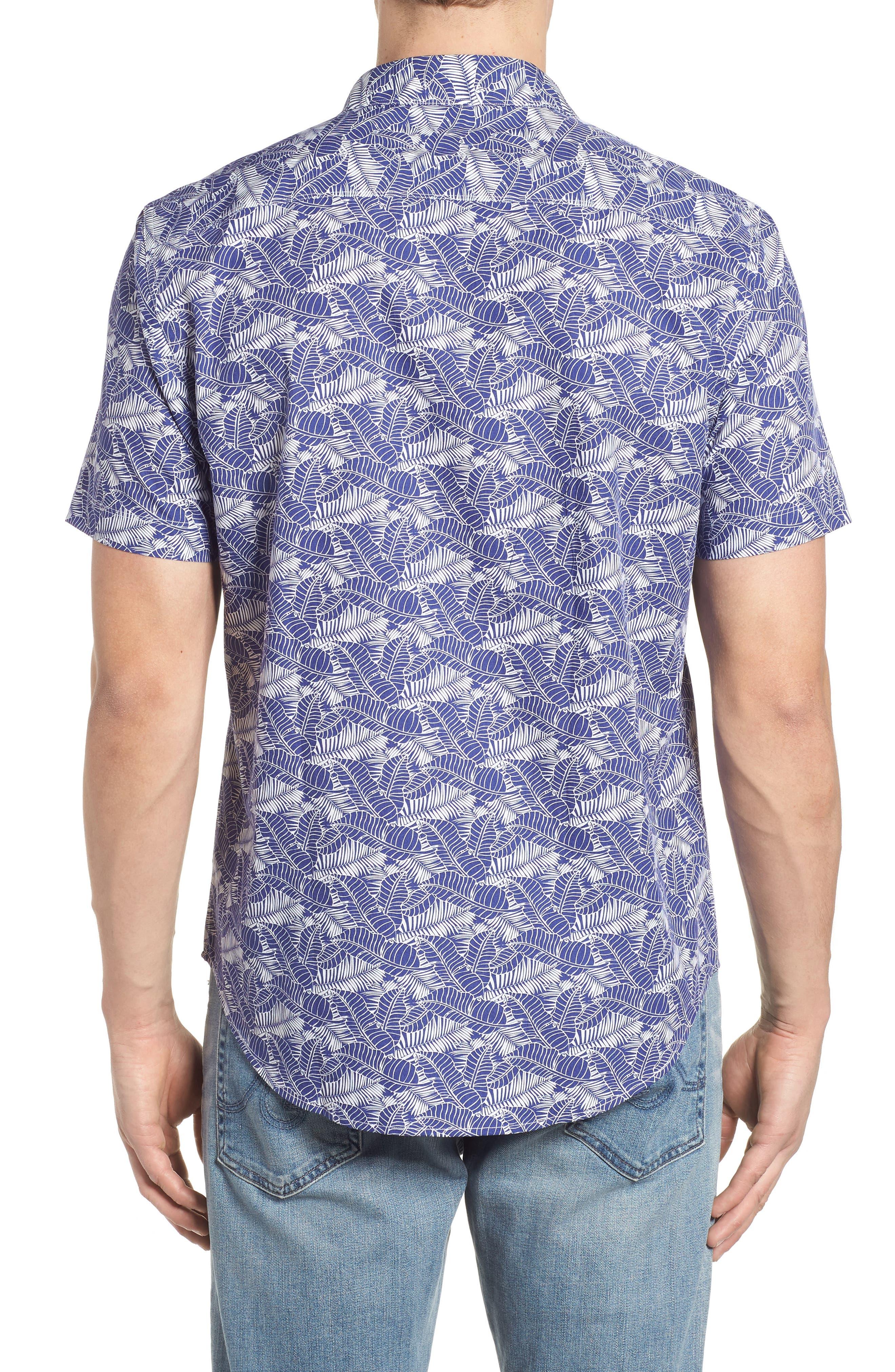 Lajoyas Regular Fit Palm Print Sport Shirt,                             Alternate thumbnail 3, color,                             Blue