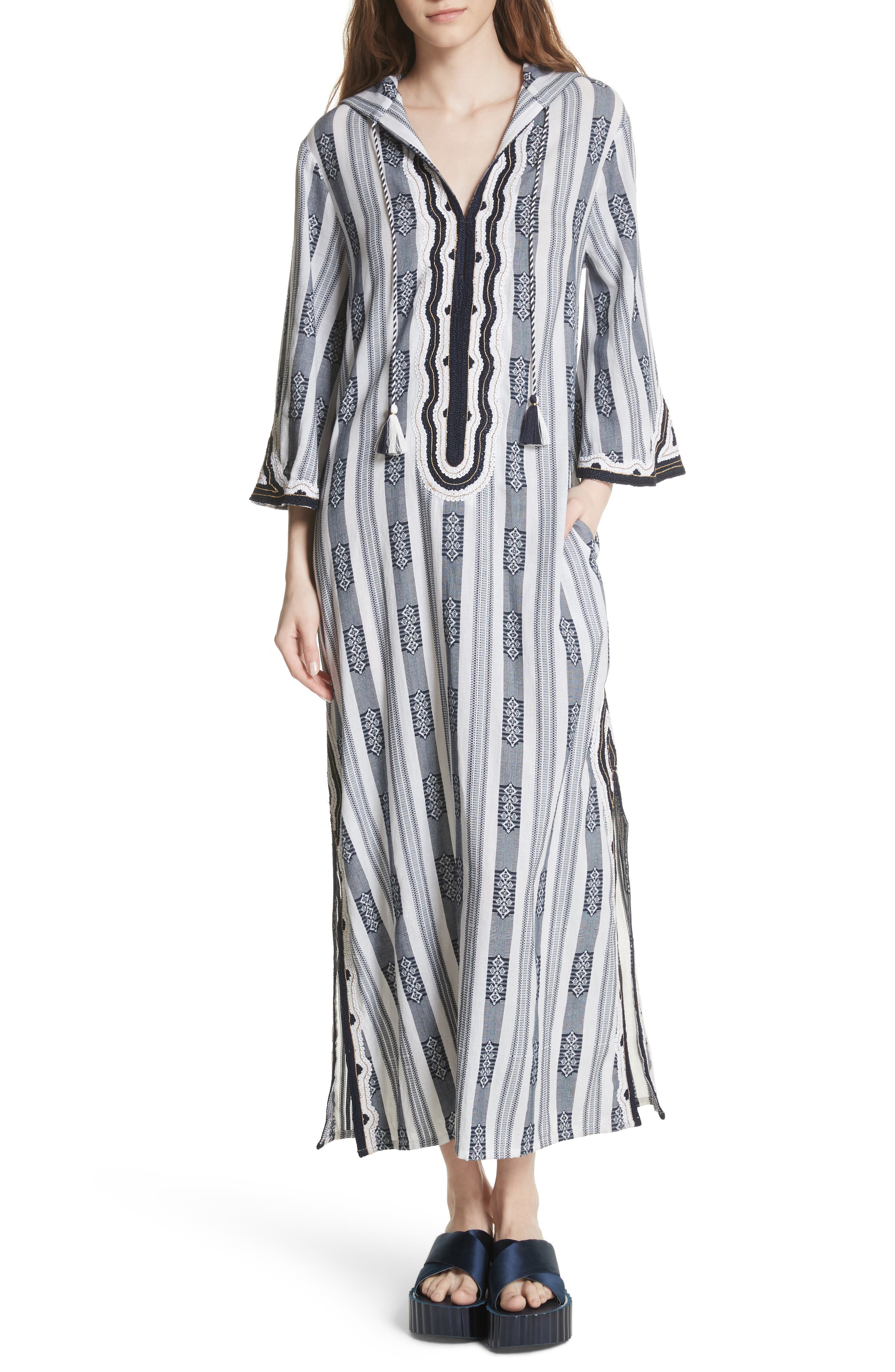 Corbin Hooded Caftan,                         Main,                         color, Tory Navy Tapestry Stripe