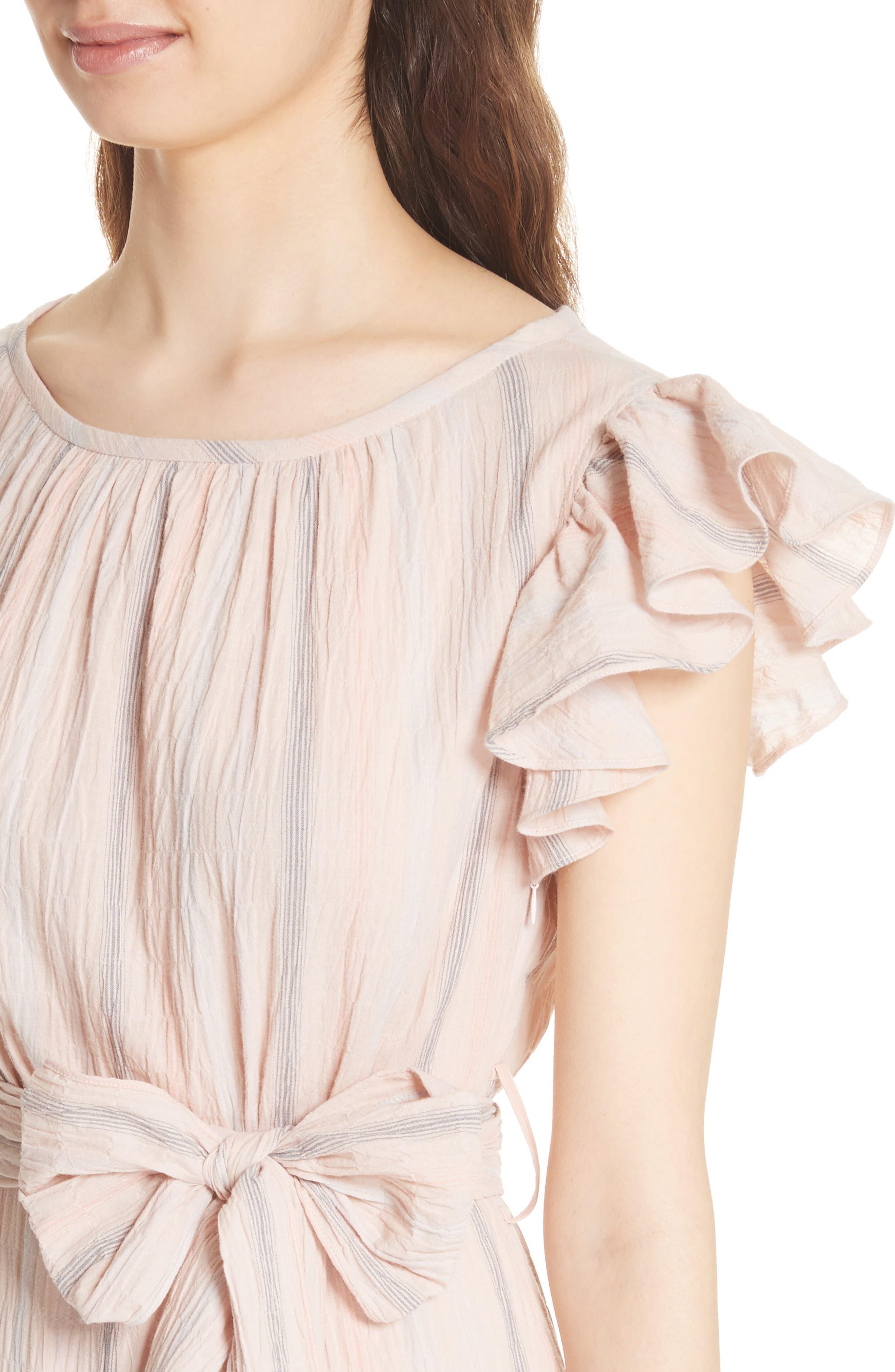 Stripe Ruffle Cap Sleeve Dress,                             Alternate thumbnail 4, color,                             Ballet Combo