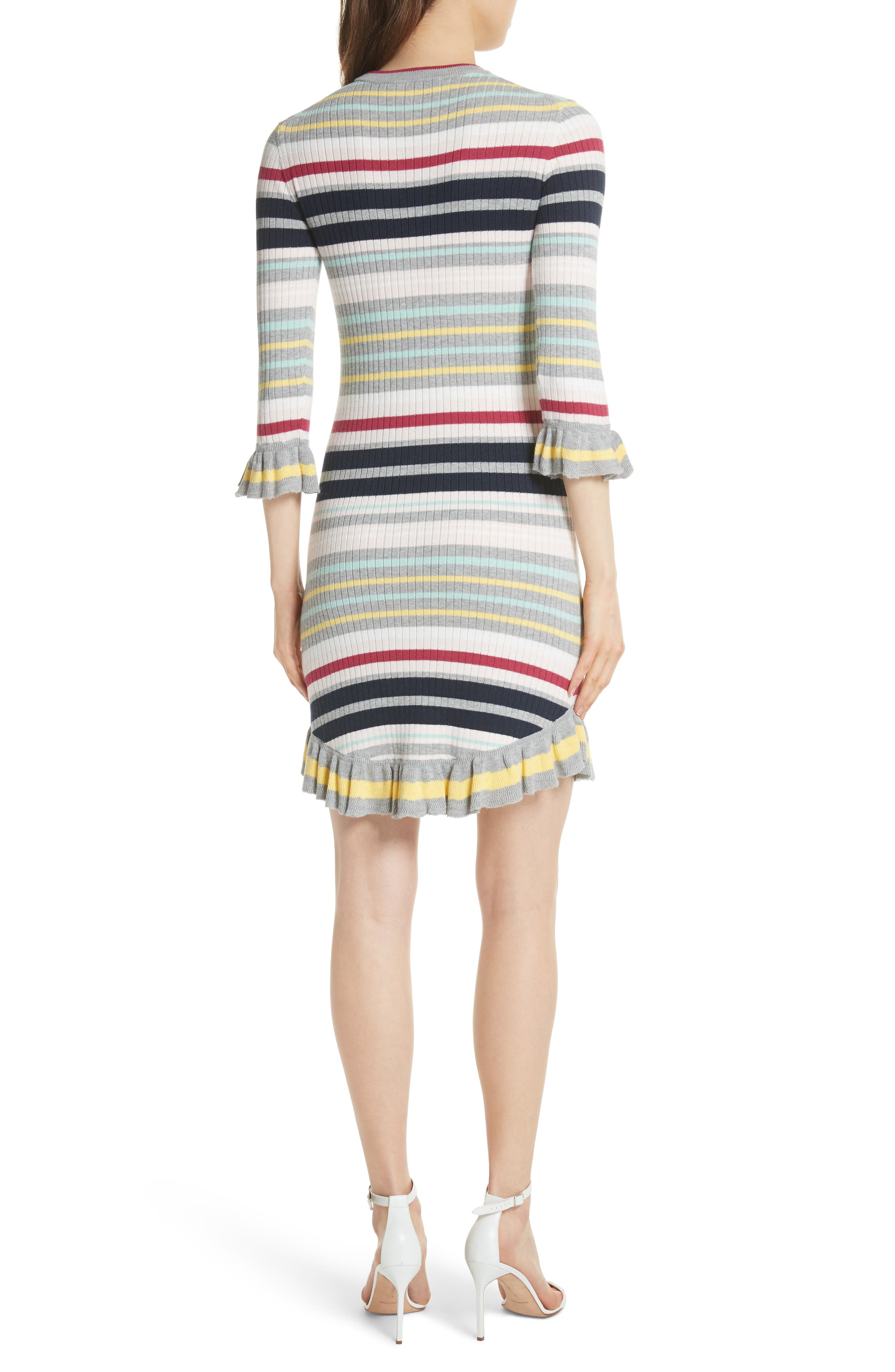 Colour by Numbers Stripe Sweater Dress,                             Alternate thumbnail 2, color,                             Grey