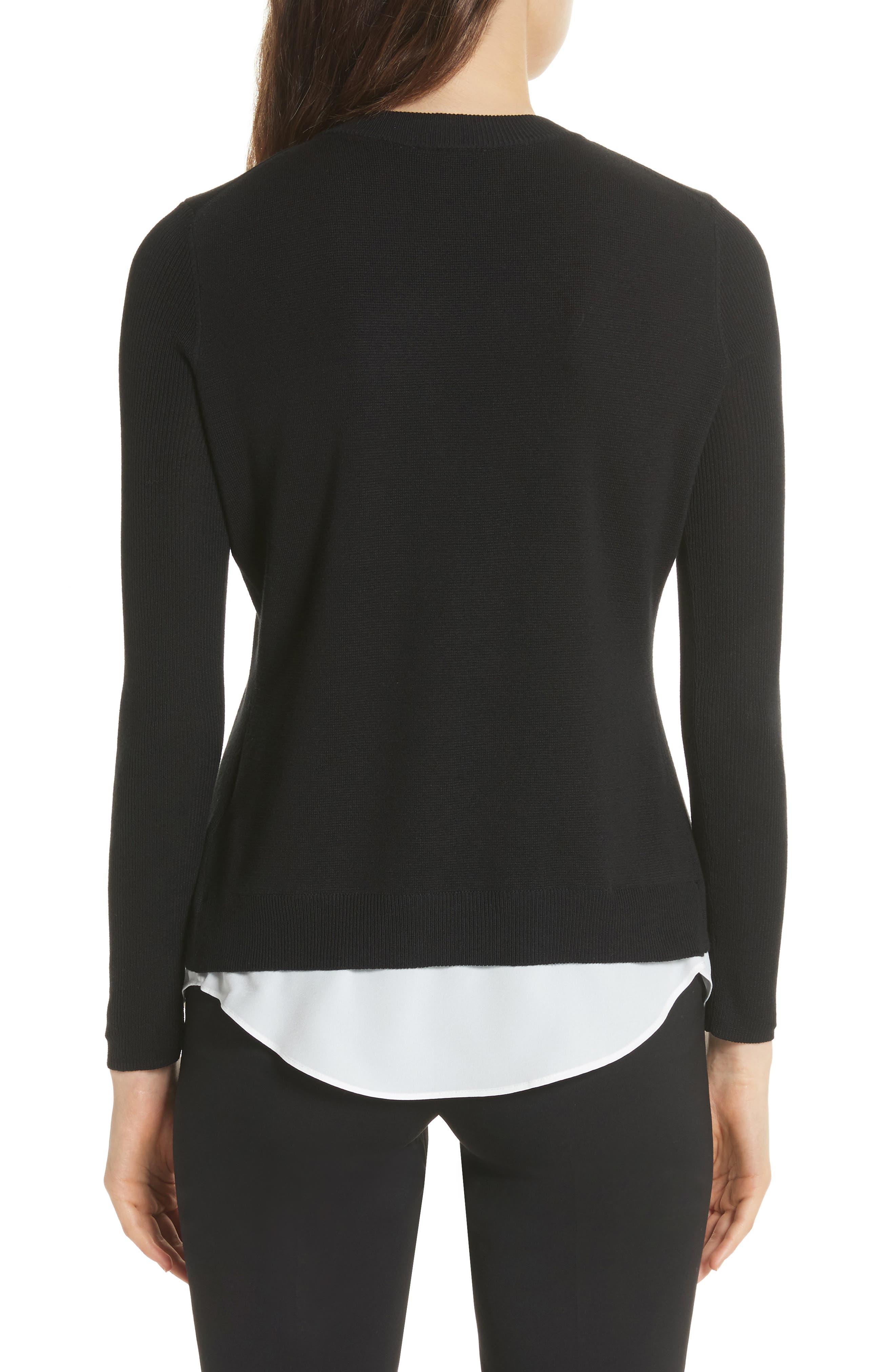 Mock Two-Piece Sweater,                             Alternate thumbnail 2, color,                             Black