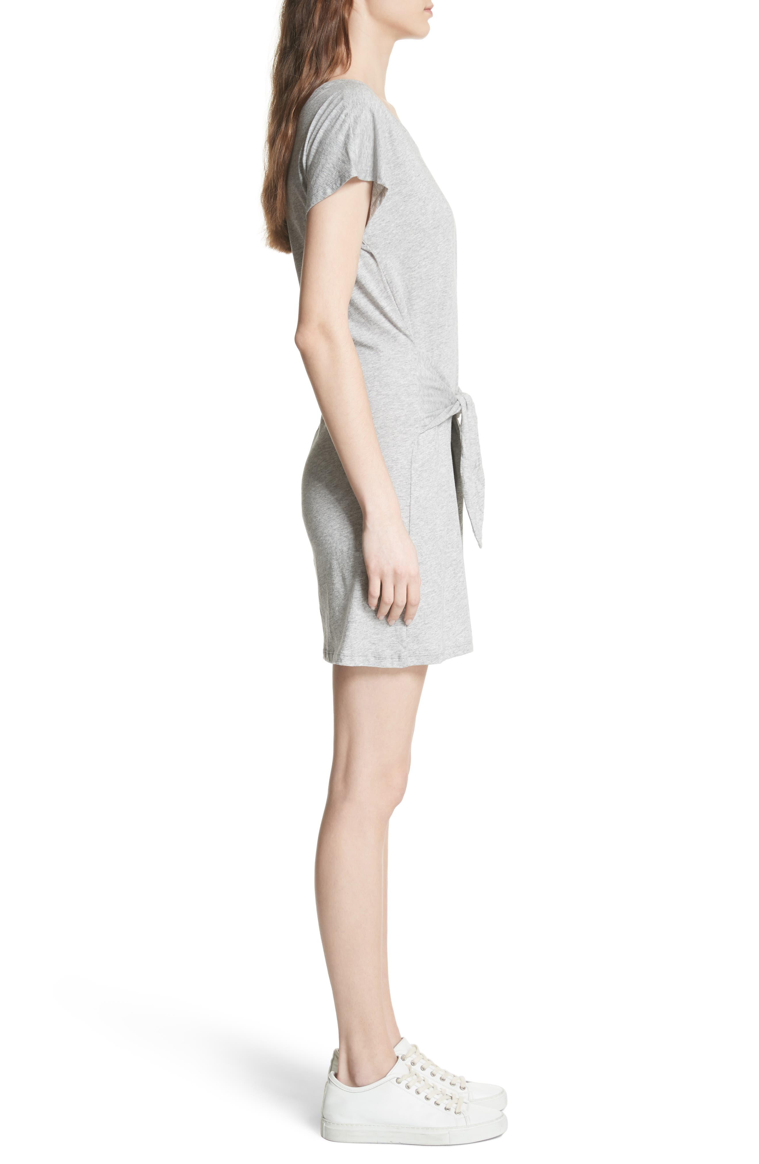 Alyra Tie Waist Cotton T-Shirt Dress,                             Alternate thumbnail 3, color,                             Heather Grey