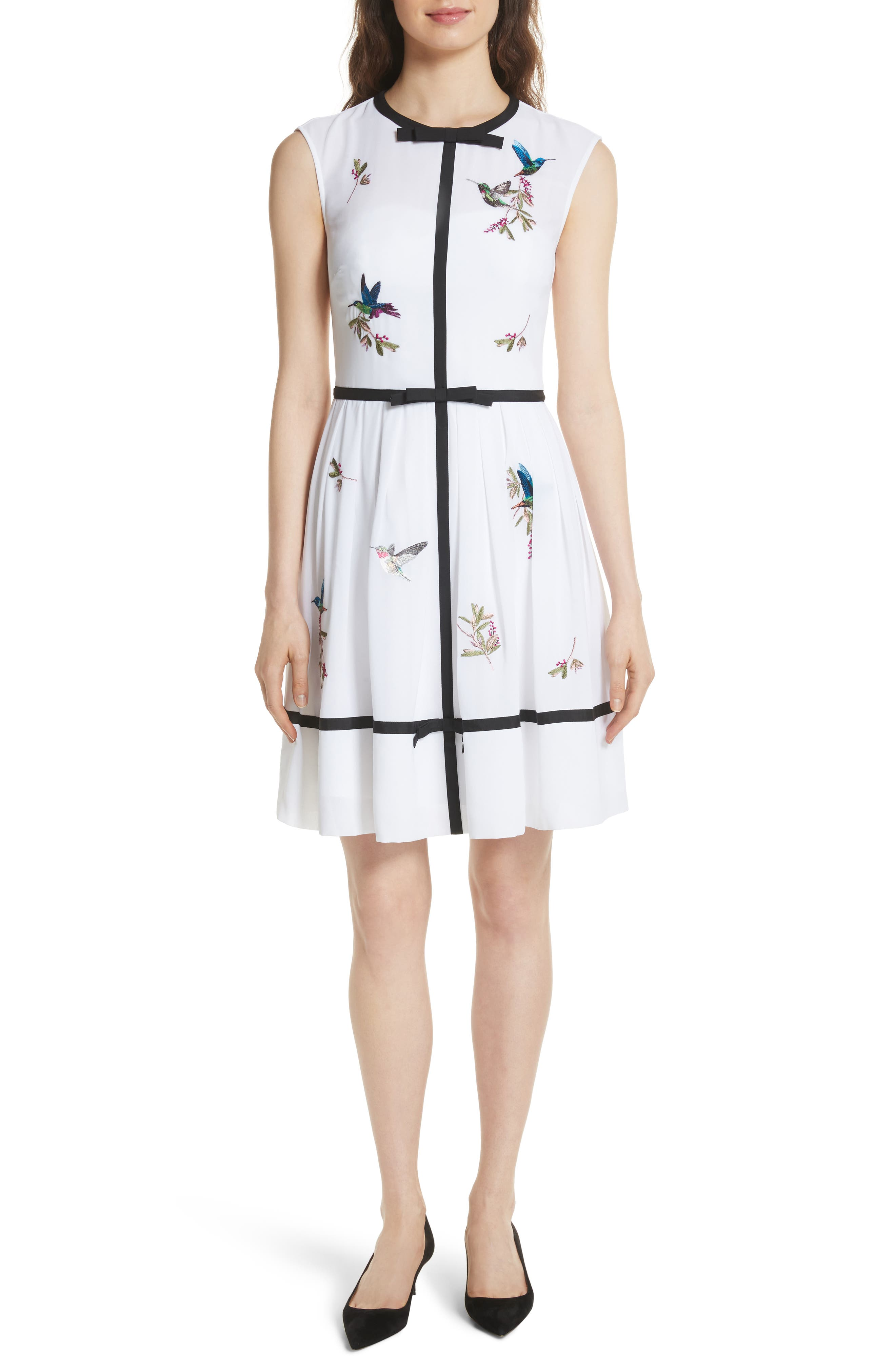 Bow Trim Embroidered Dress,                             Main thumbnail 1, color,                             White