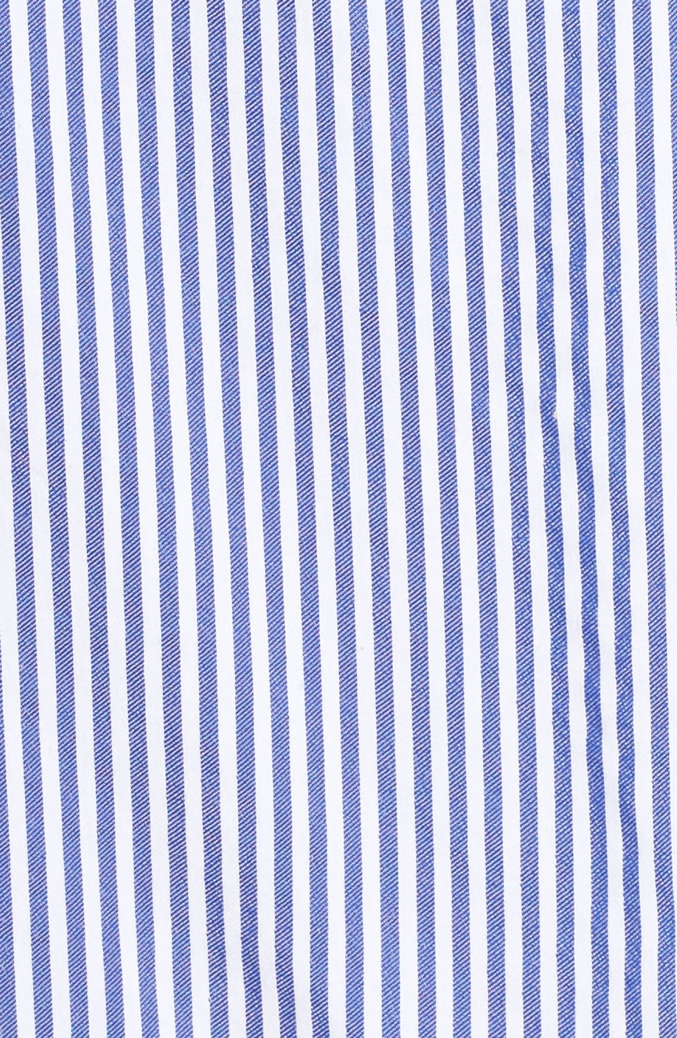 Embroidered Hem Stripe Off the Shoulder Shift Dress,                             Alternate thumbnail 5, color,                             Blue/ White