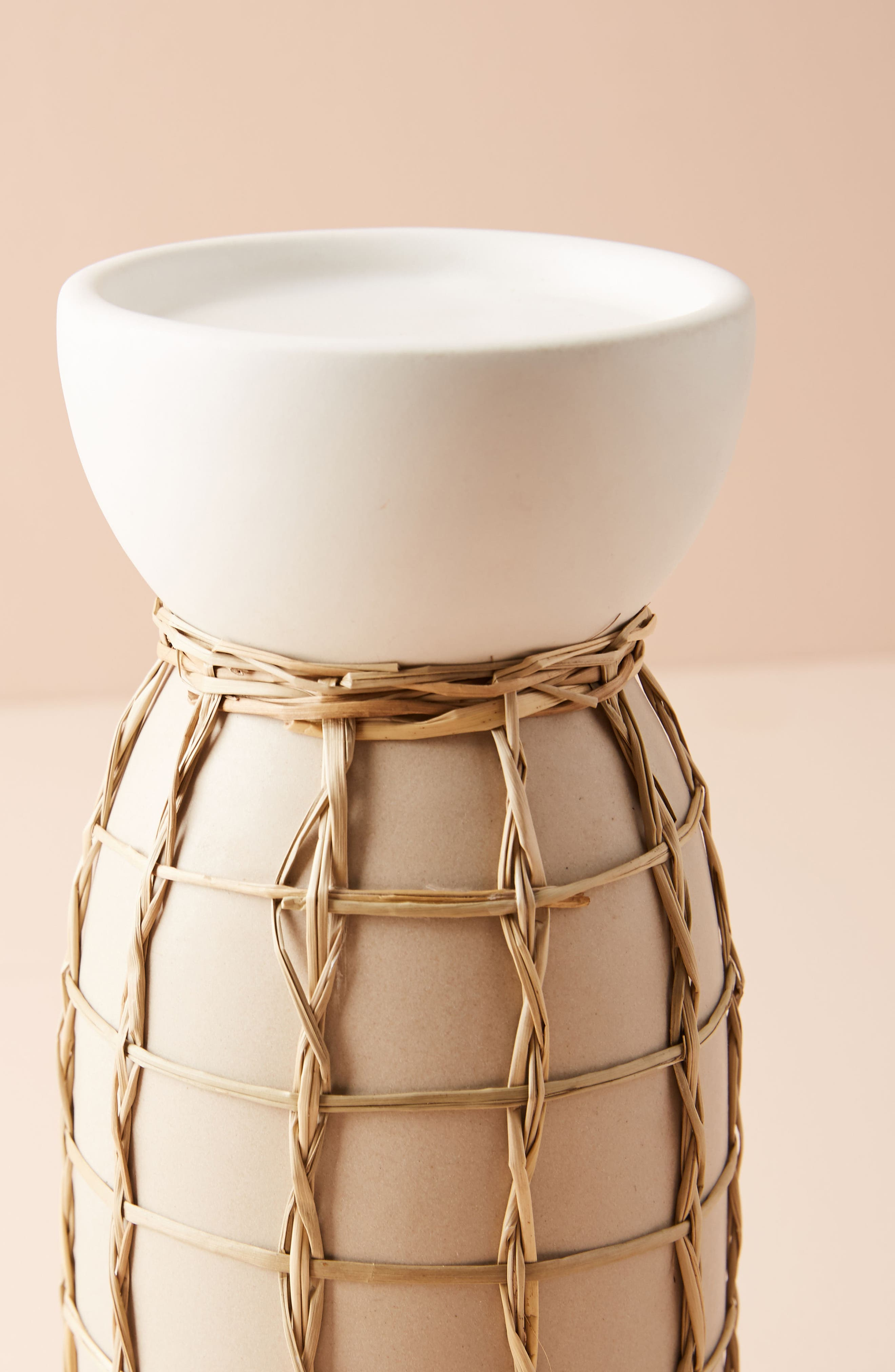Wicker Pillar Candleholder,                             Alternate thumbnail 2, color,                             Cream - Large