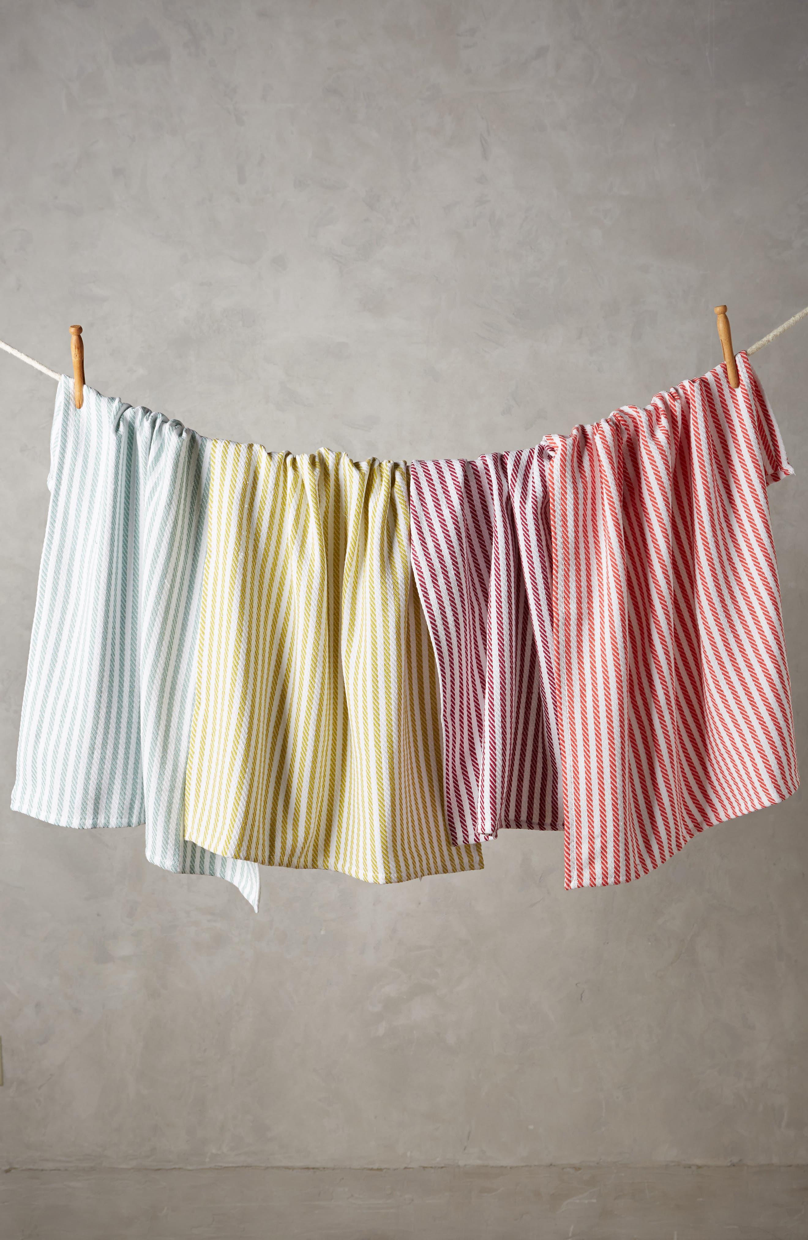 Baker Stripe Set of 4 Dishtowels,                             Main thumbnail 1, color,                             Pink Multi