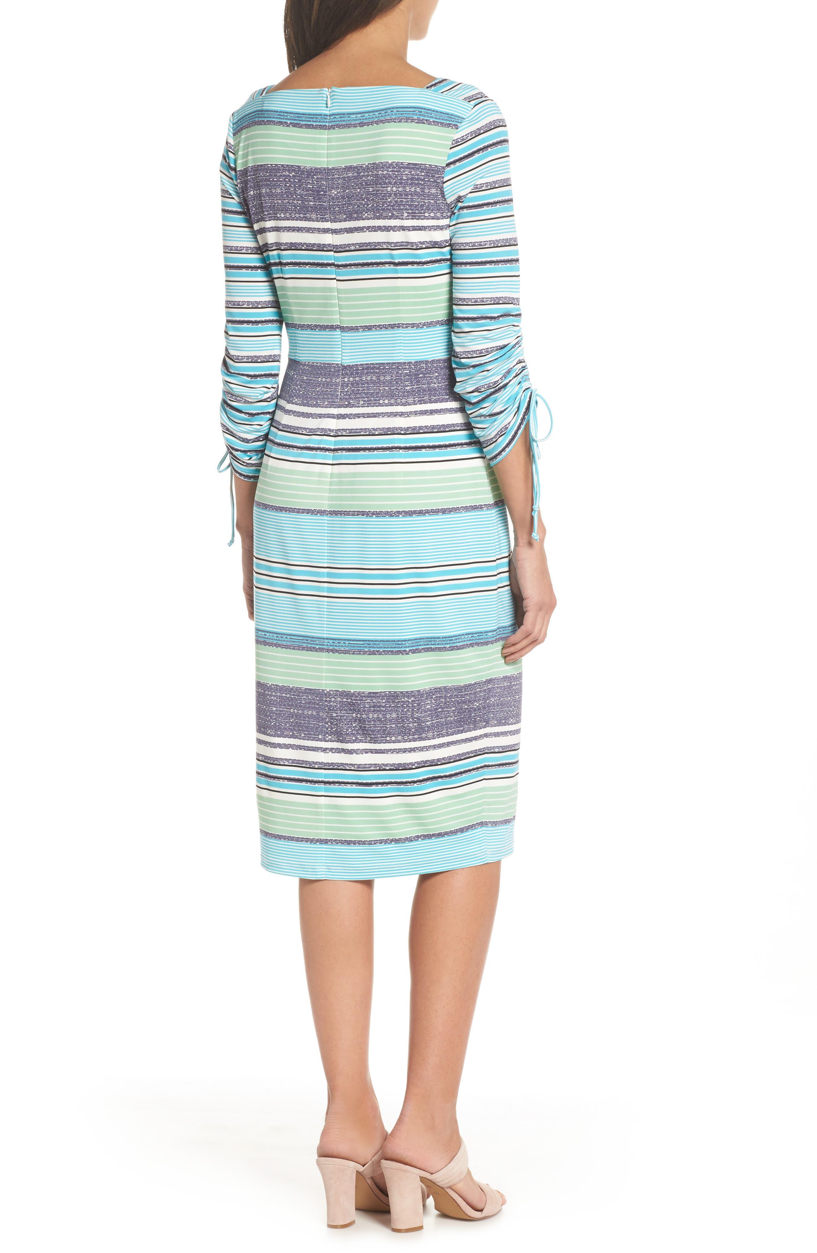 Ruched Sleeve Sheath Dress,                             Alternate thumbnail 2, color,                             White/ Aqua