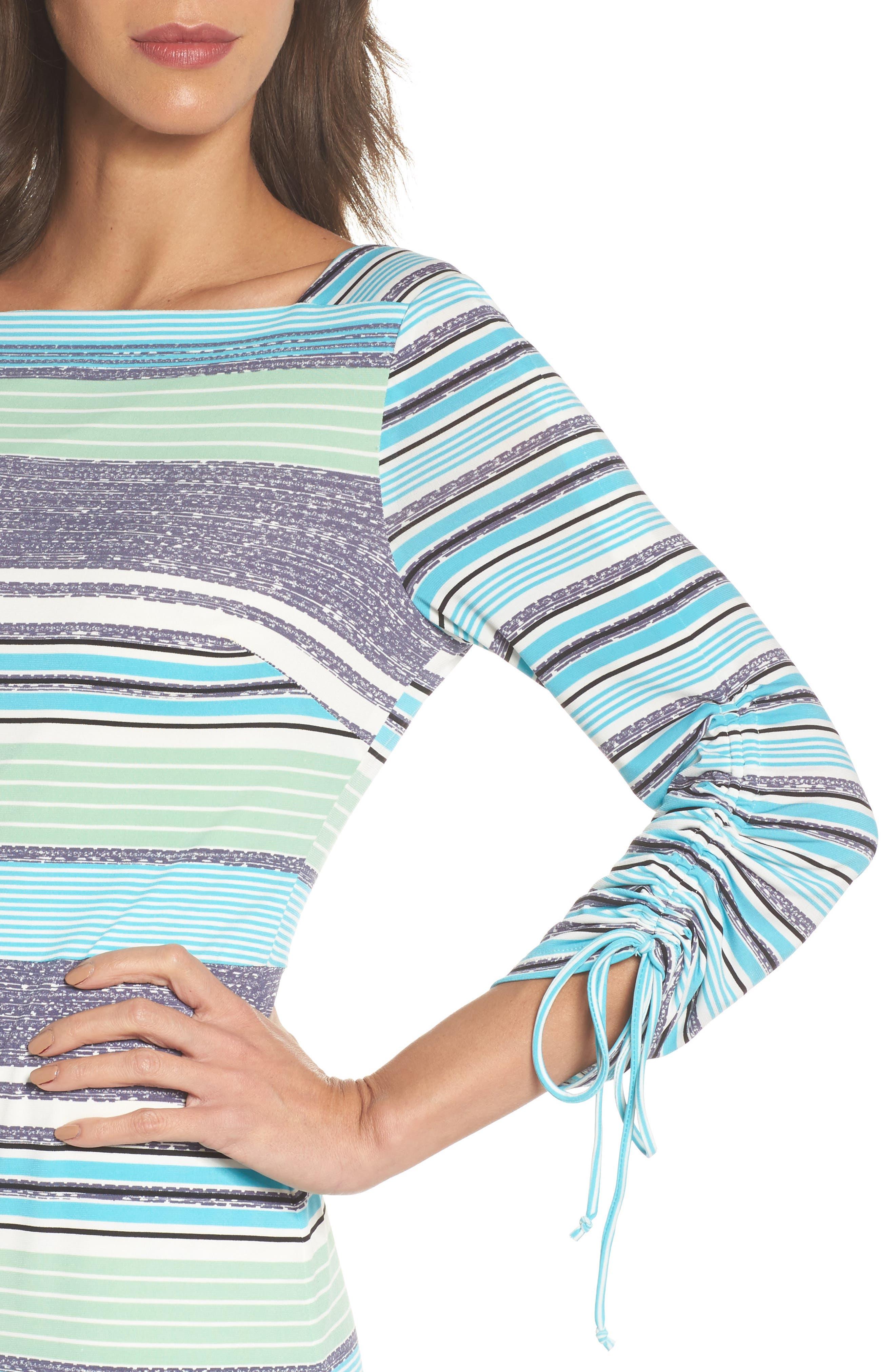 Ruched Sleeve Sheath Dress,                             Alternate thumbnail 4, color,                             White/ Aqua