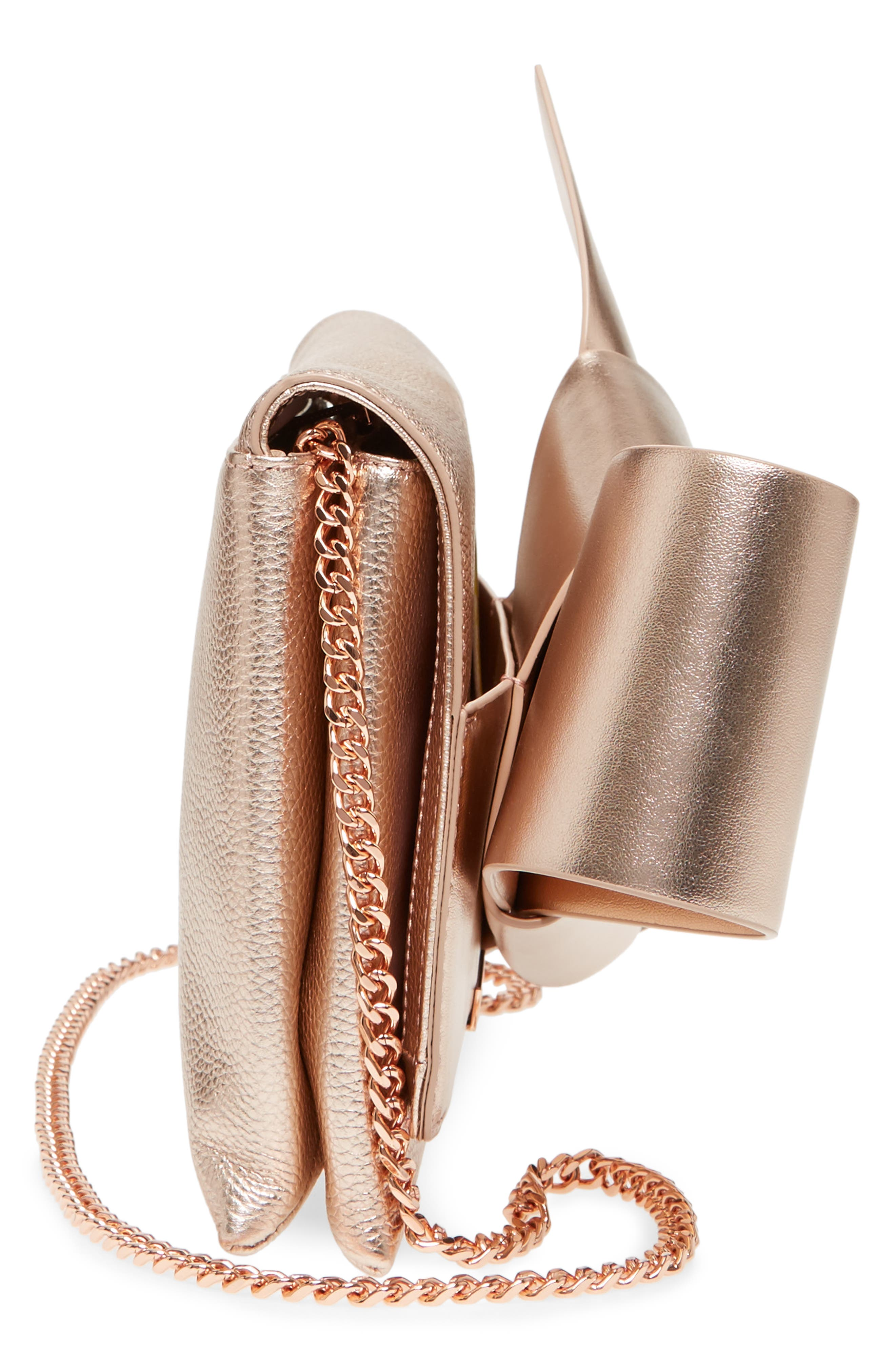Knotted Bow Leather Clutch,                             Alternate thumbnail 5, color,                             Rose Gold