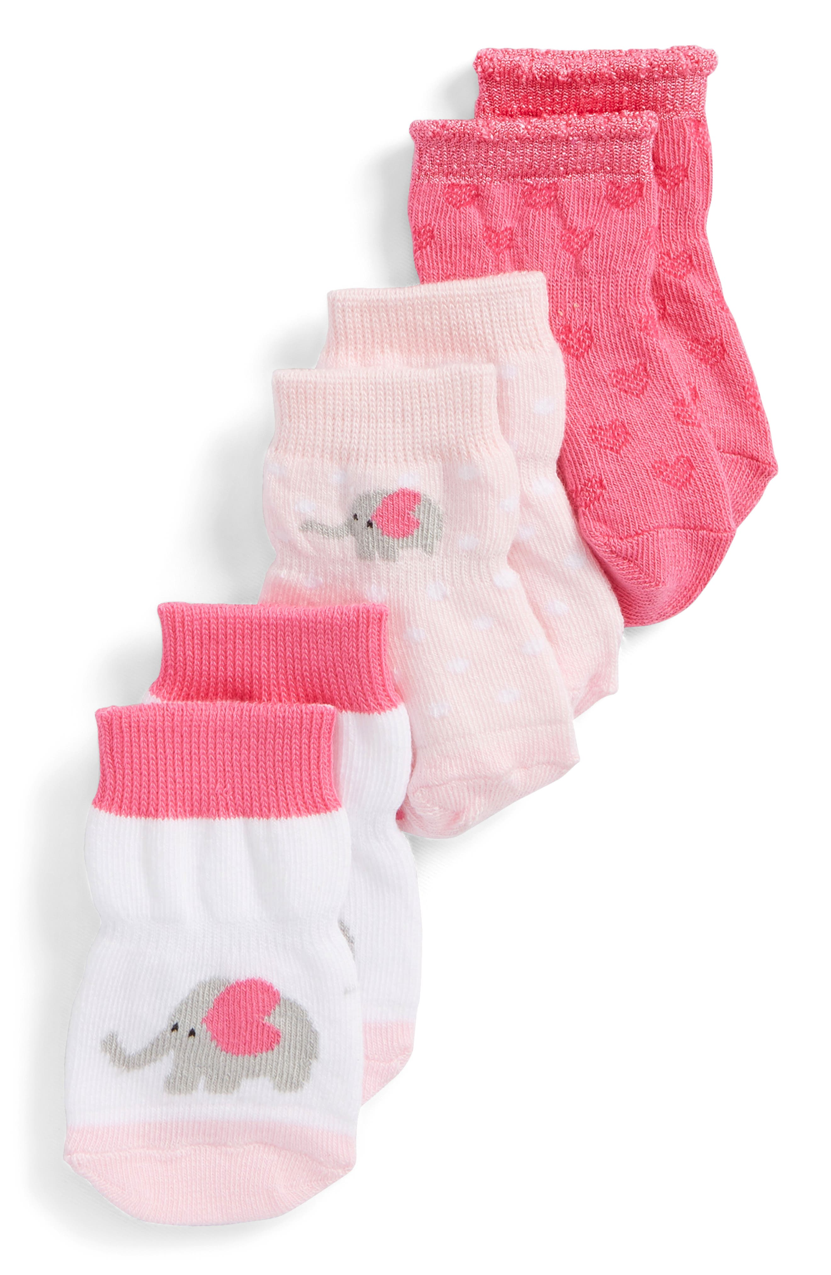 Little Peanut 3-Pack Socks,                             Main thumbnail 1, color,                             Pink/ White